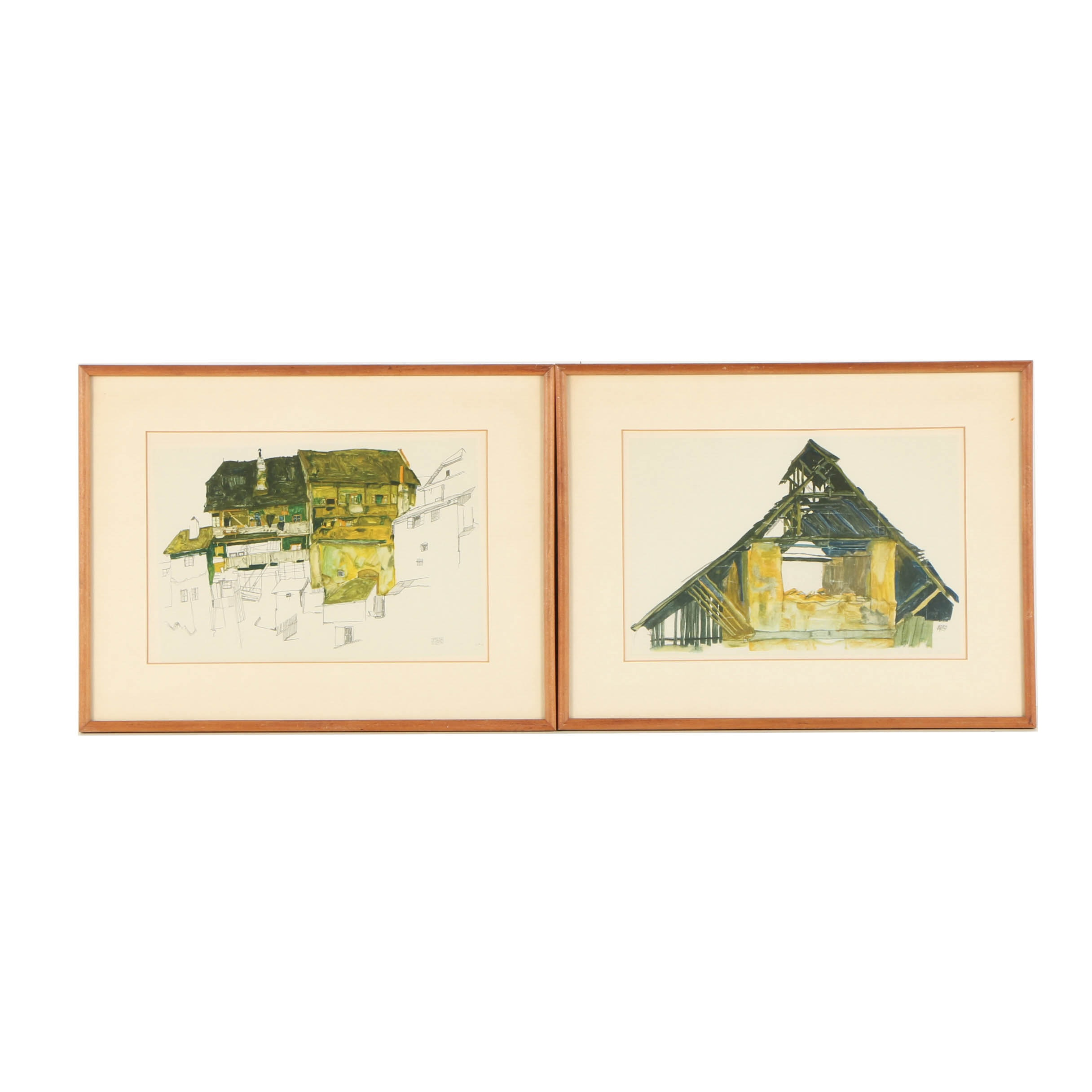 """Offset Lithographs After Egon Schiele """"Old Houses in Krumau"""" and """"Old Gable"""""""