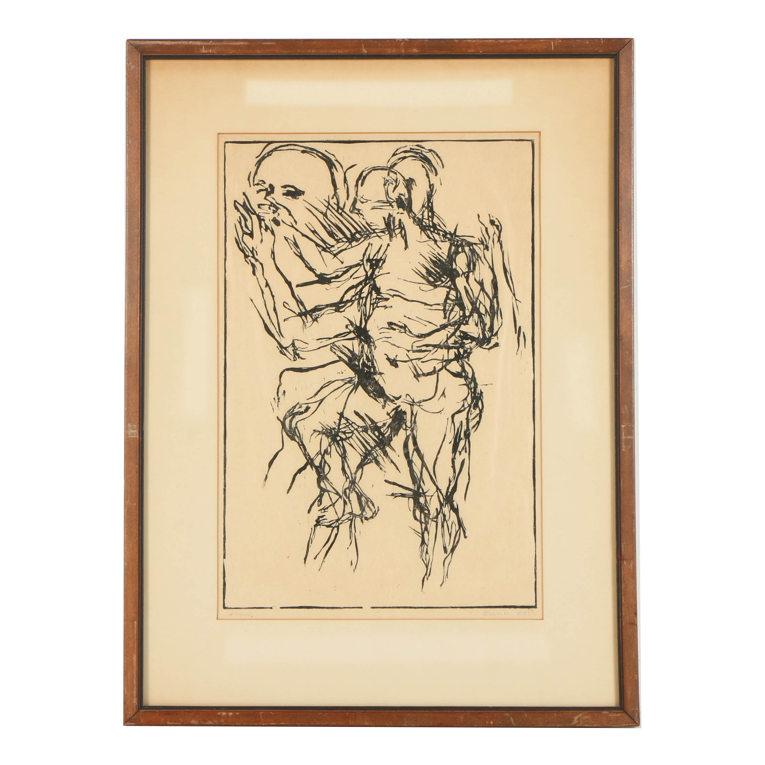 """Woodblock Print on Paper """"Antiquary"""""""