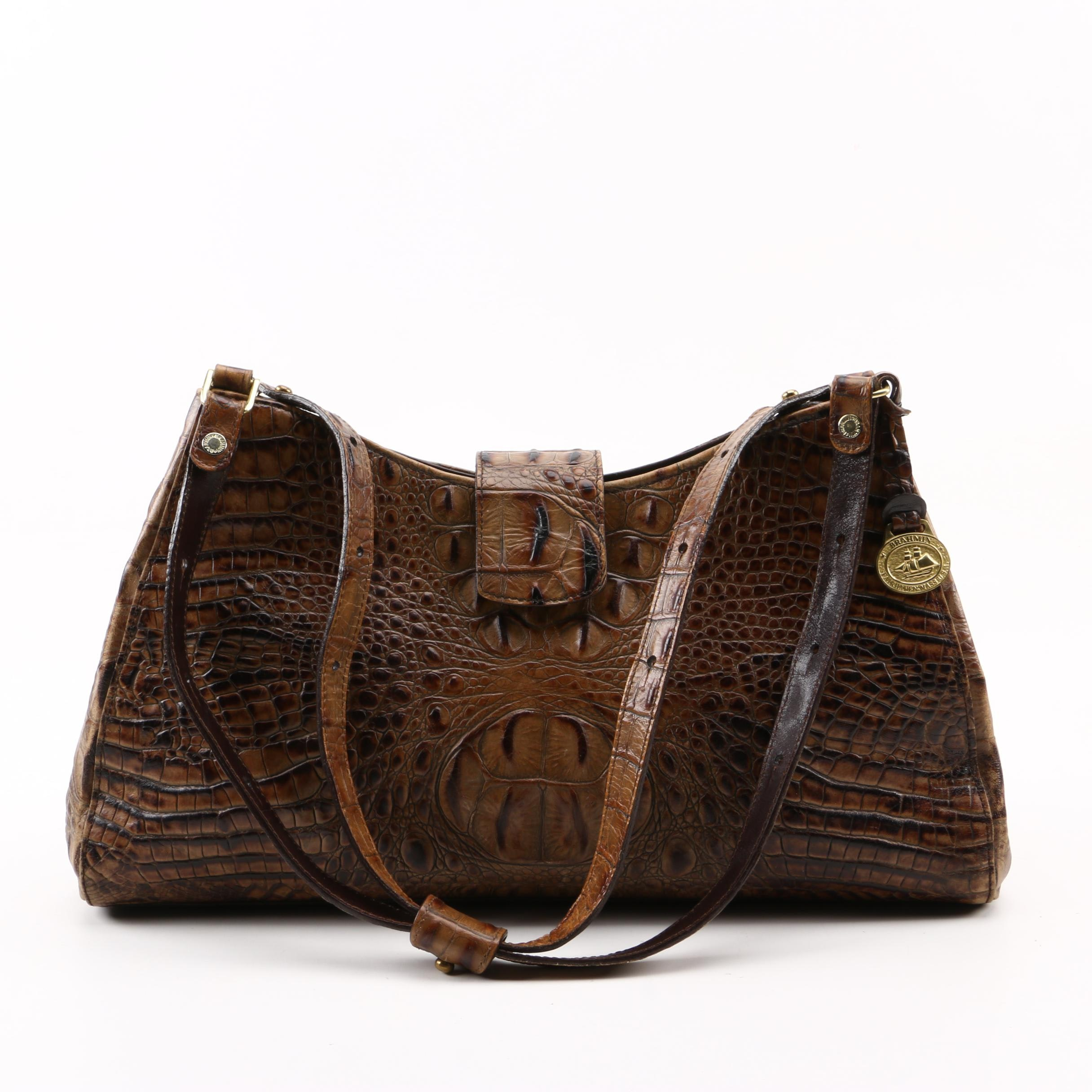 Brahmin Crocodile Embossed Brown Leather Shoulder Bag