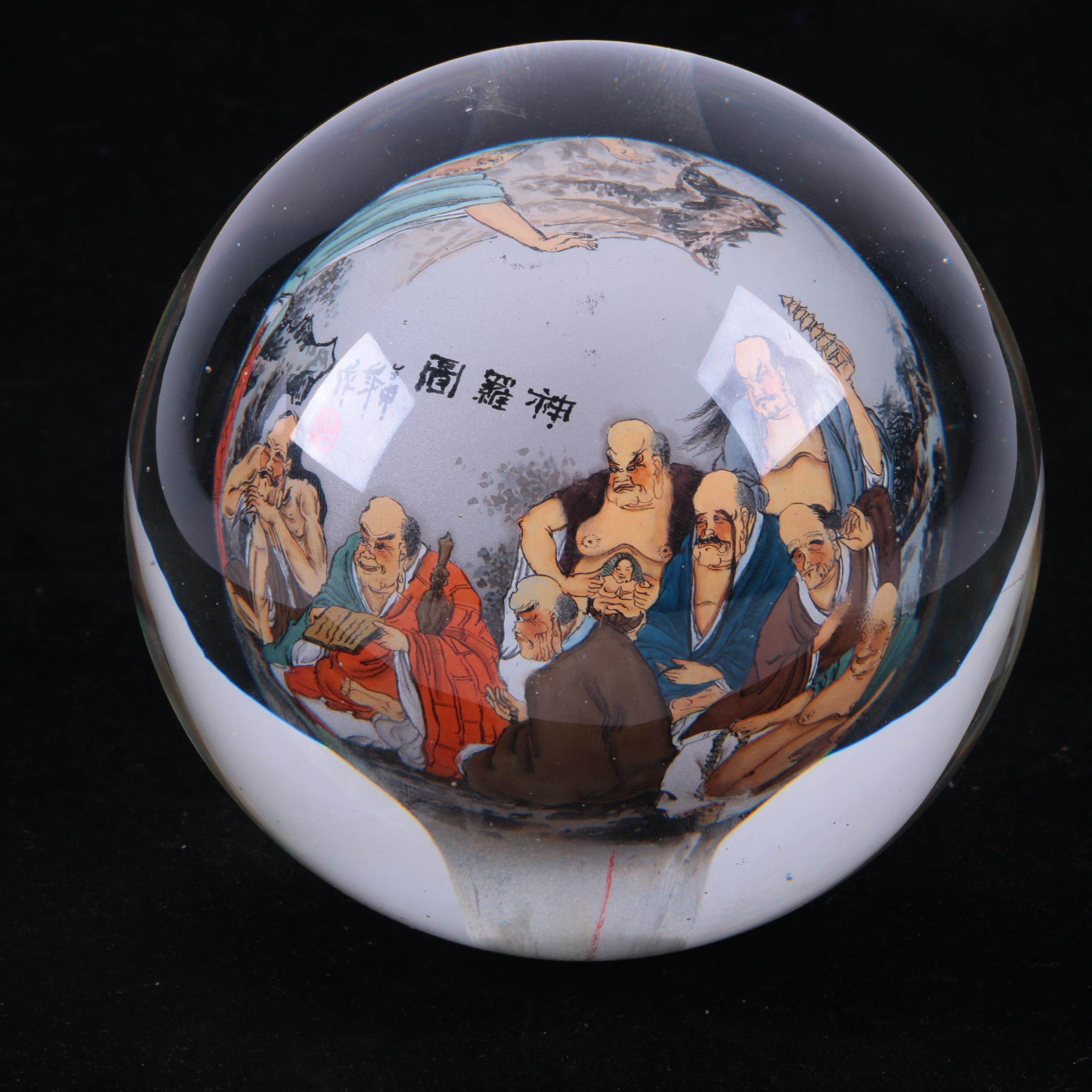 "Chinese Hand-Painted Glass Paperweight ""A Gathering of Gods"""
