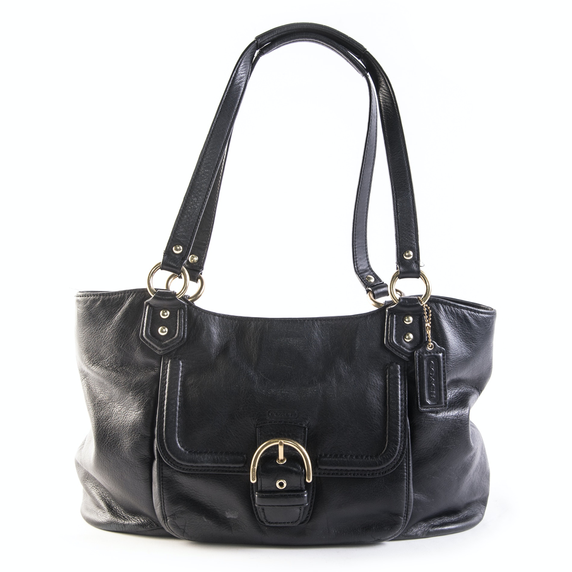 Coach Campbell Black Leather Carryall Handbag