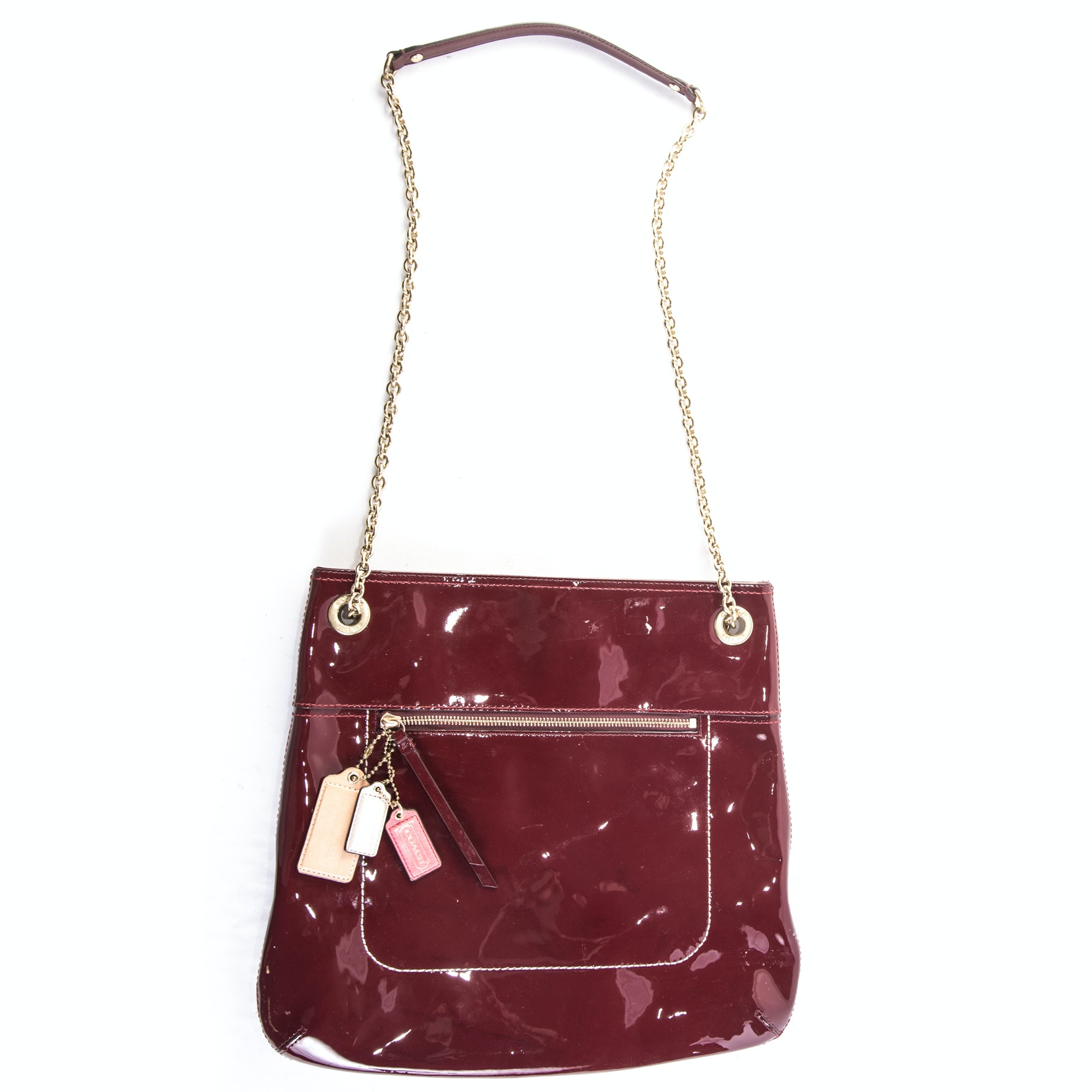 Coach Oxblood Colored Patent Leather Crossbody Handbag
