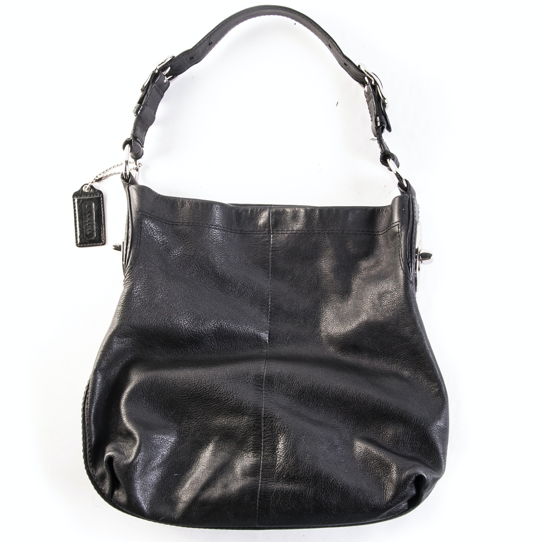 Coach Peyton Black Leather Turnlock Hobo Handbag