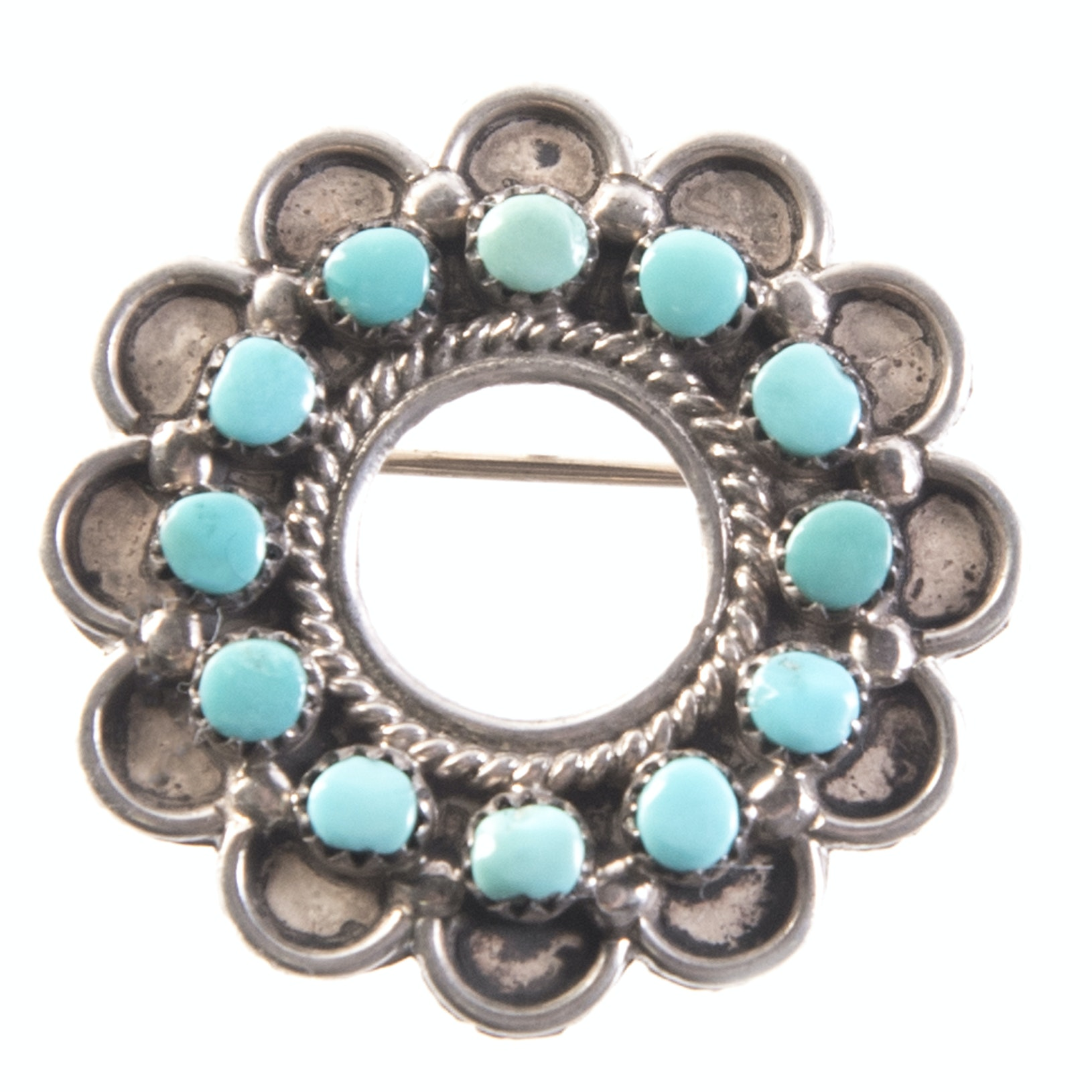 Sterling Silver and Turquoise Circle Pendant Brooch