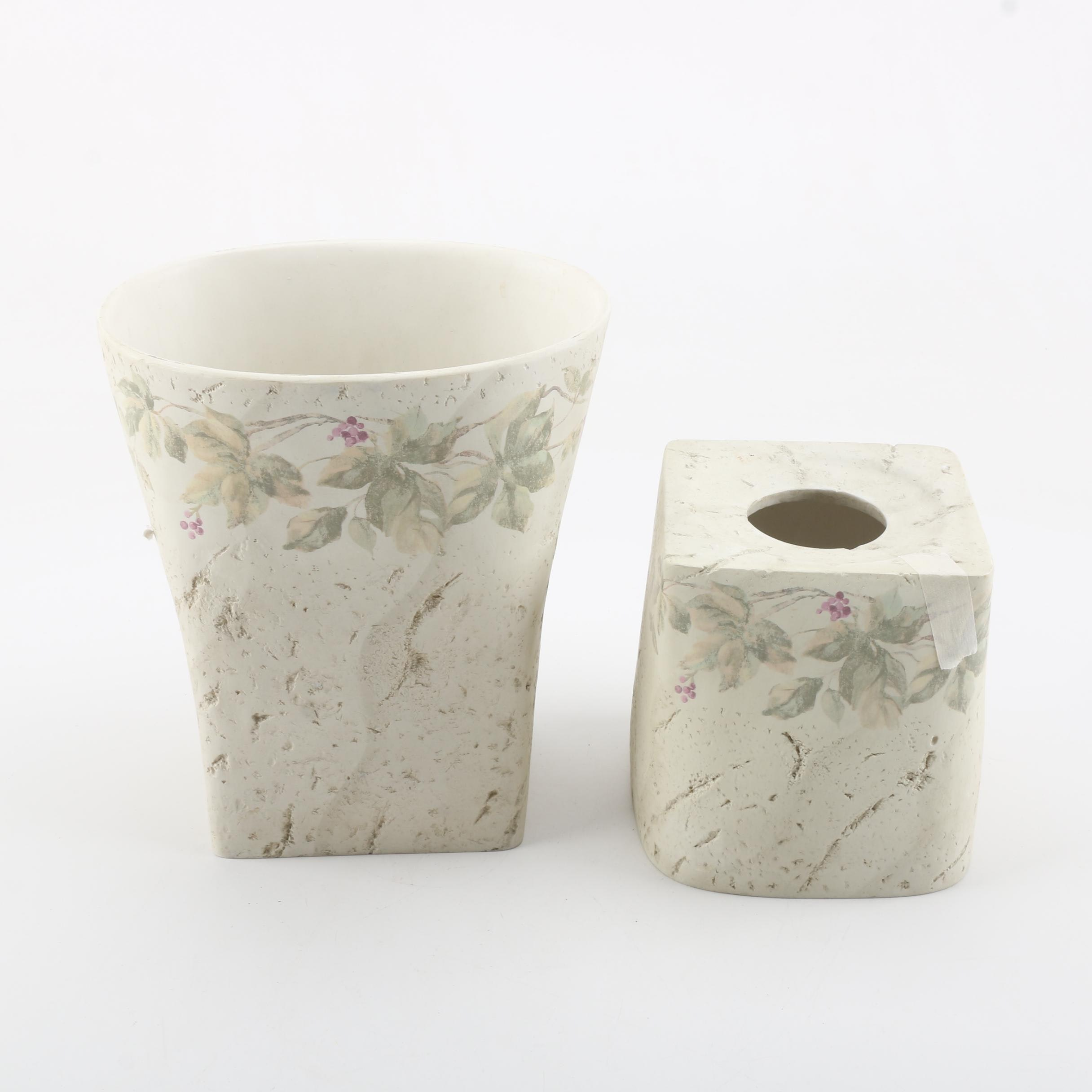 Ivy Motif Ceramic Wastebasket and Tissue Cover