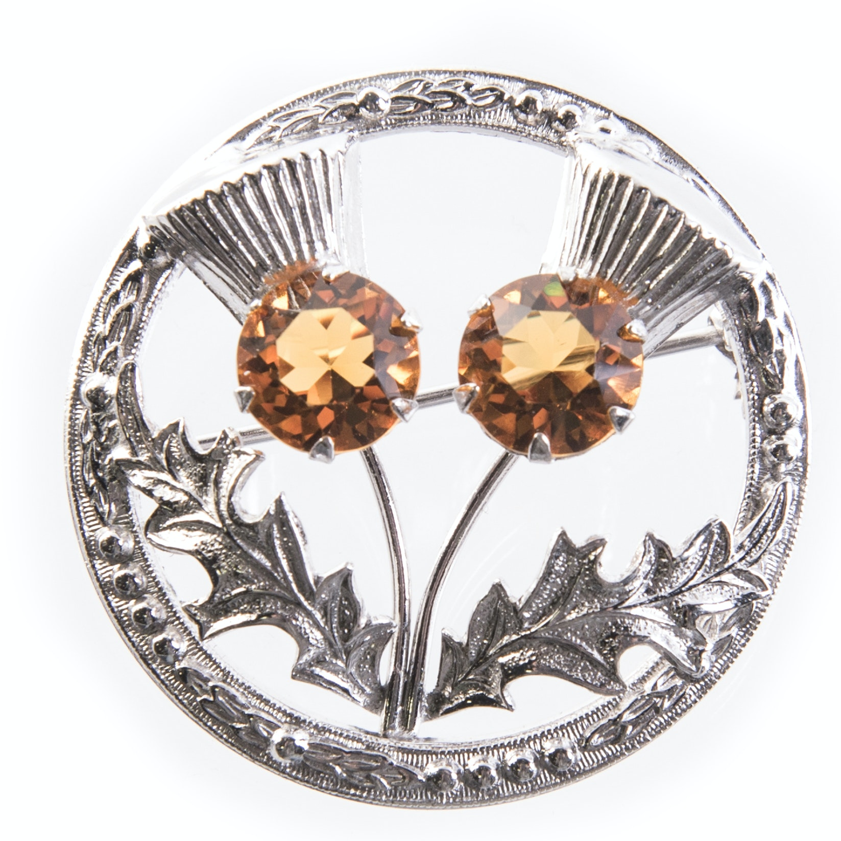 Sterling Silver Thistle Flowers Brooch