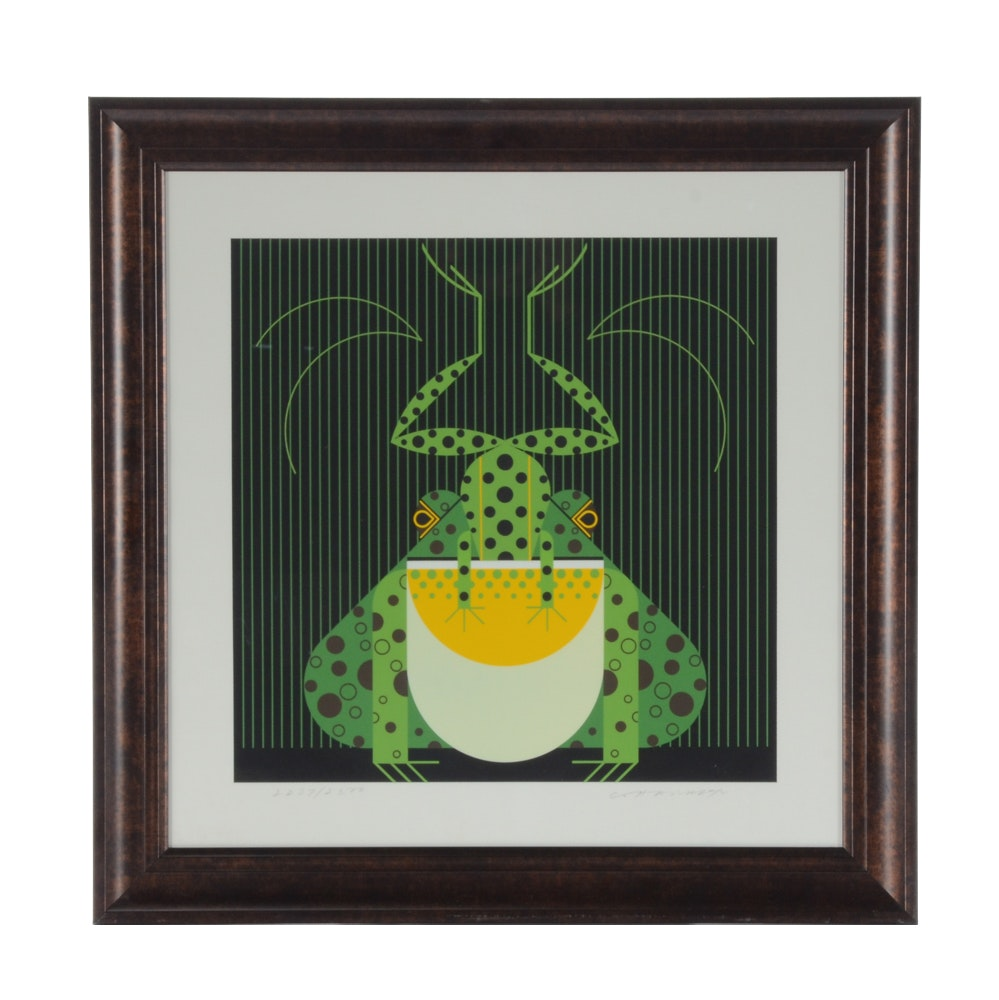 Charley Harper Signed Limited Edition Serigraph, Frog Eat Frog