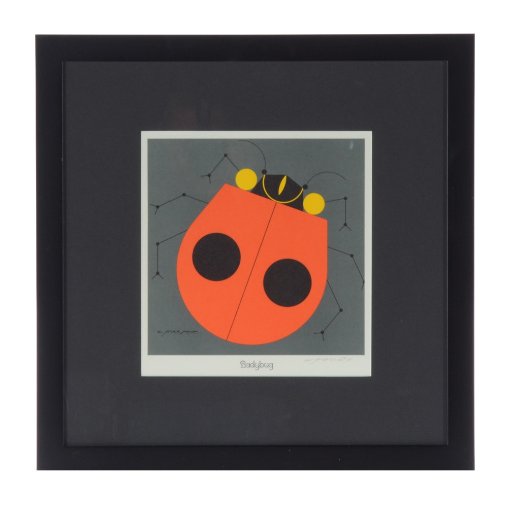 Open Edition Lithograph Hand Signed by Charley Harper, Ladybug