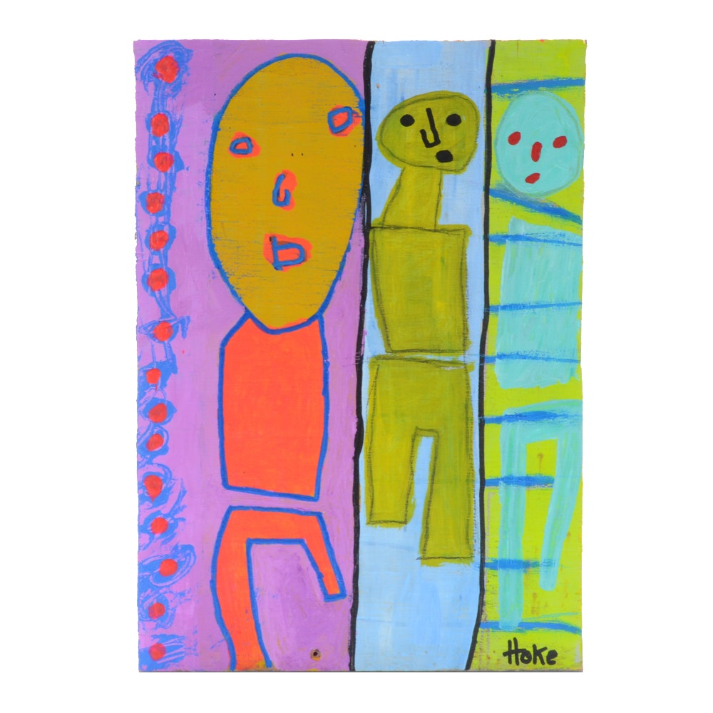 "Bob Hoke Original Acrylic on Board Outsider Painting ""Revolving Door"""