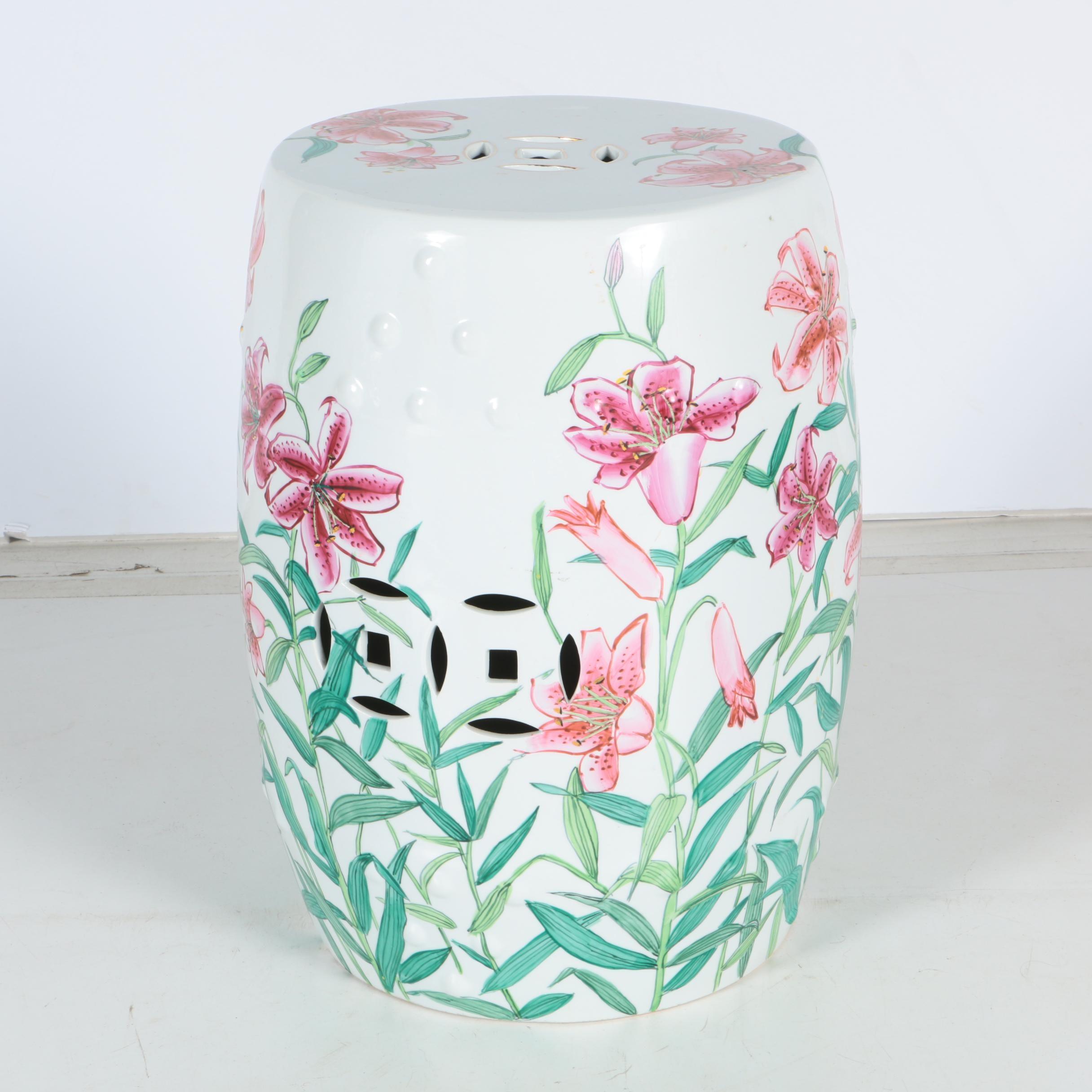 Ceramic Garden Stool with Floral Design
