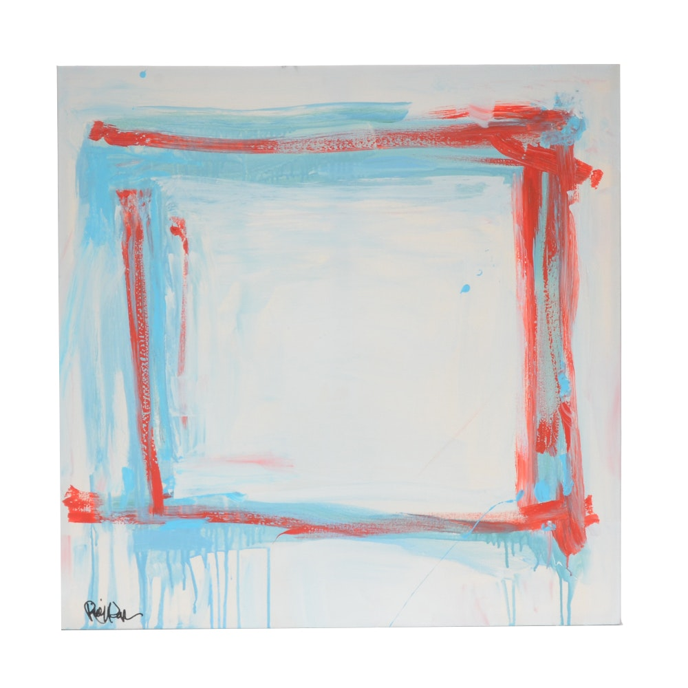 "Robbie Kemper Abstract Acrylic Painting ""Red and Blues Square"""