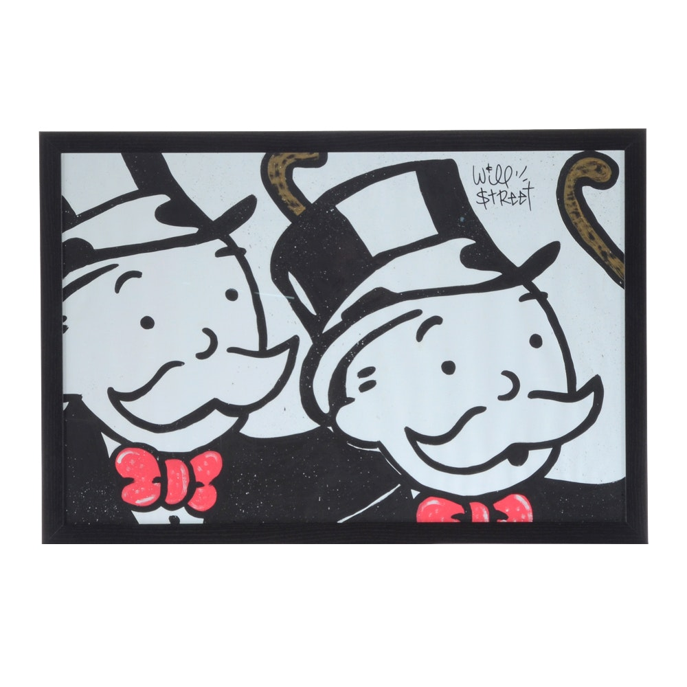 Will $treet Acrylic Painting on Paper of Monopoly Character