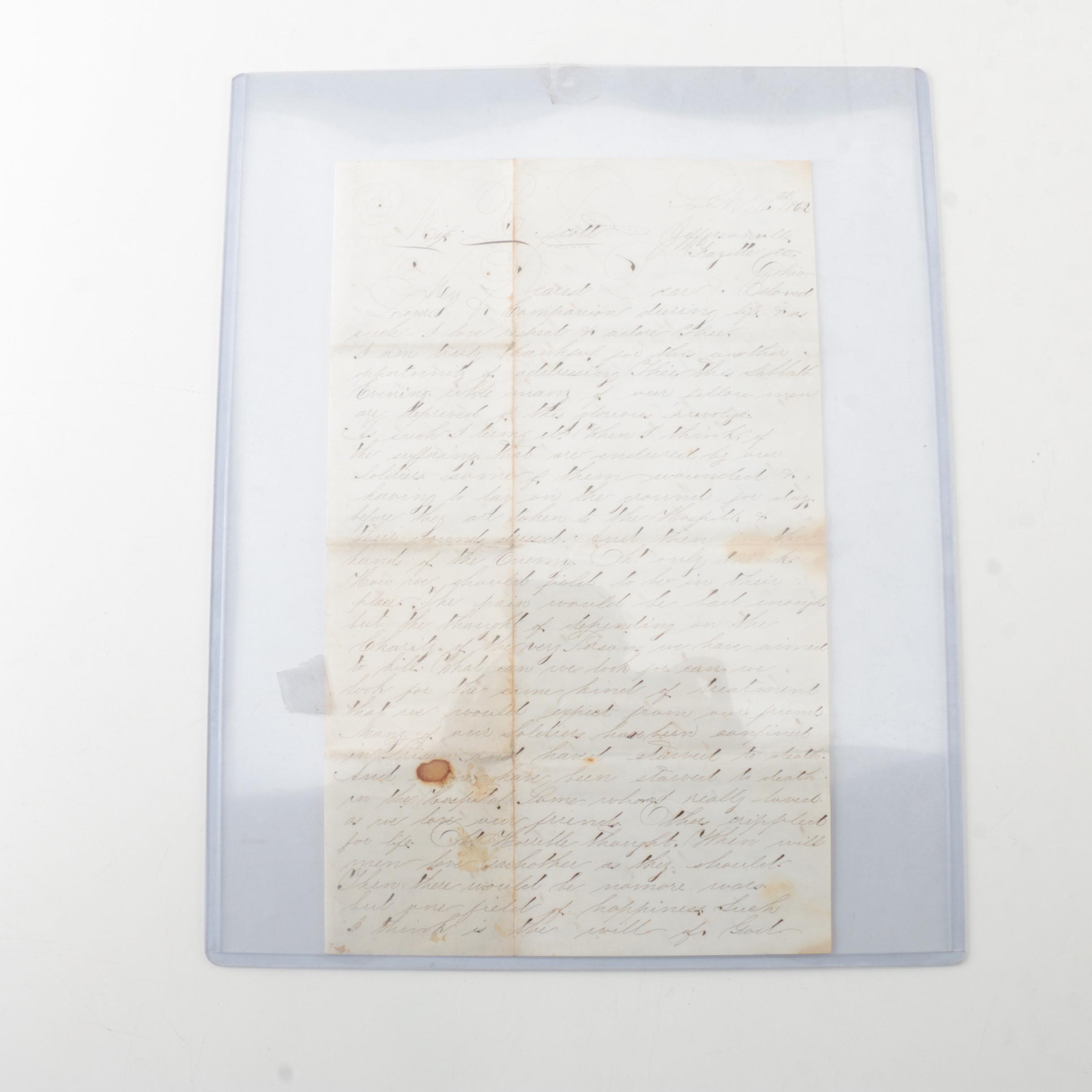 1862 Handwritten Letter