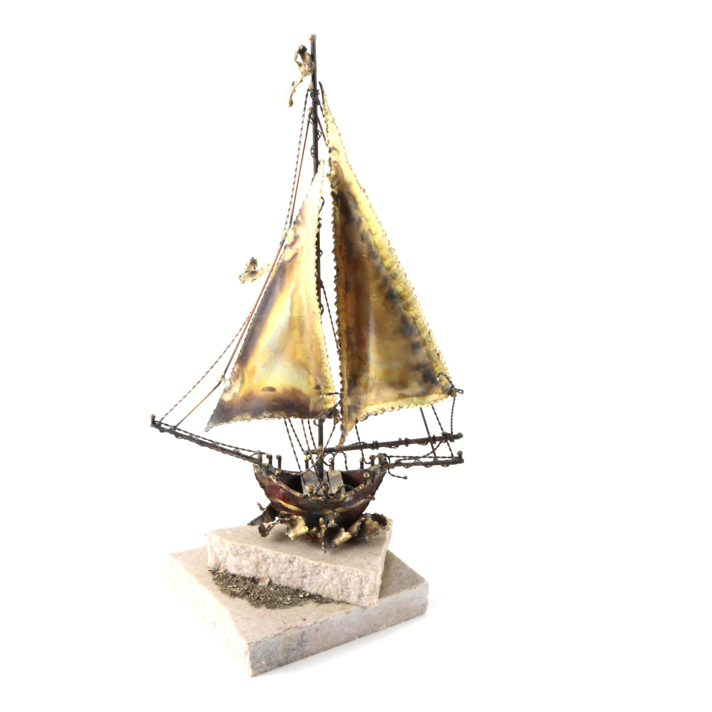 Foustino Torch-Cut Metal Sculpture on Stone of Sailboat