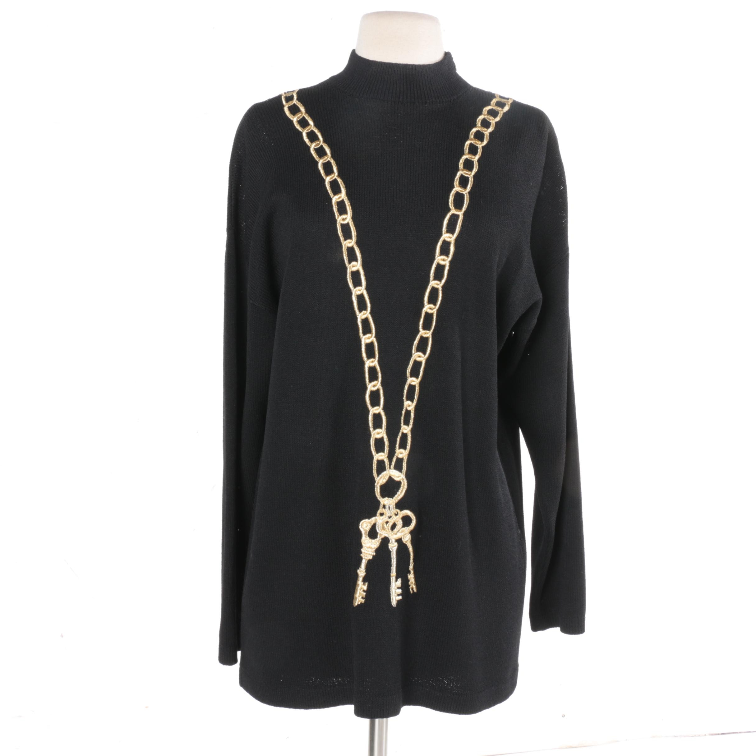 St. John Separates Embroidered Black Knit Sweater