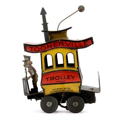 Vintage Fontaine Fox Toonerville Trolley Tin Toy