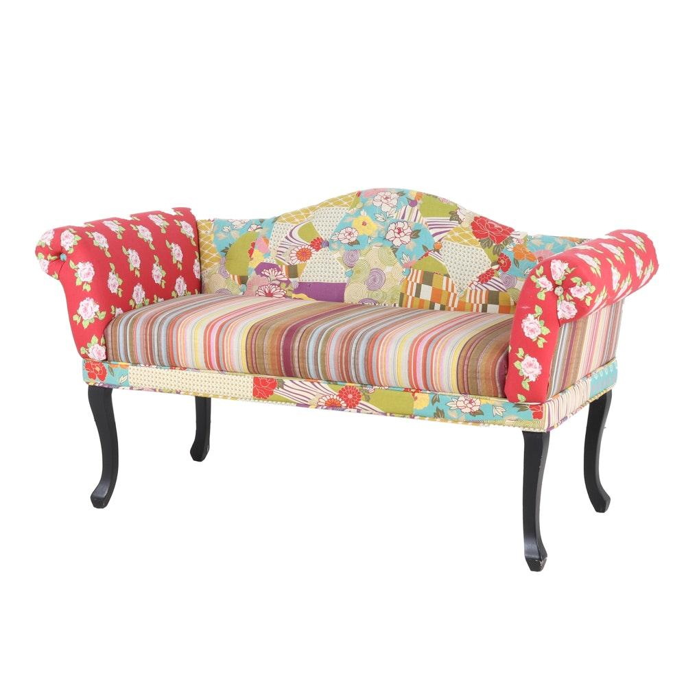 Upholstered Camelback Settee