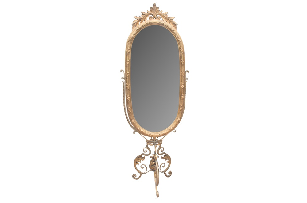 Ornate Gold Tone Freestanding Mirror
