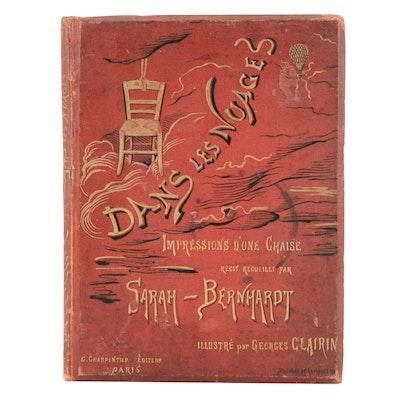 "1878 Signed Sarah Bernhardt and Georges Clairin ""Danes Les Nuages"" Art Book"
