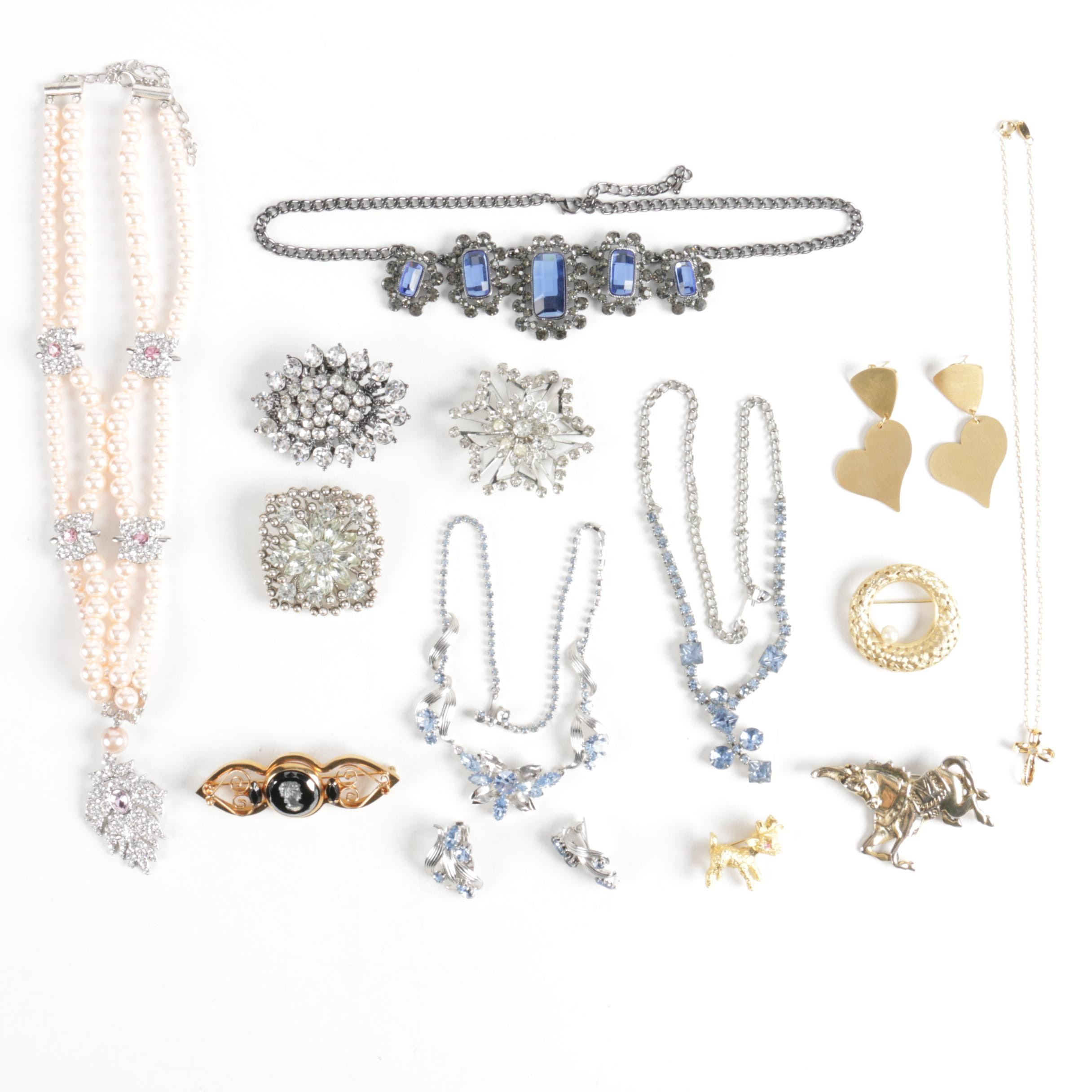 Costume Jewelry Featuring Rhinestones