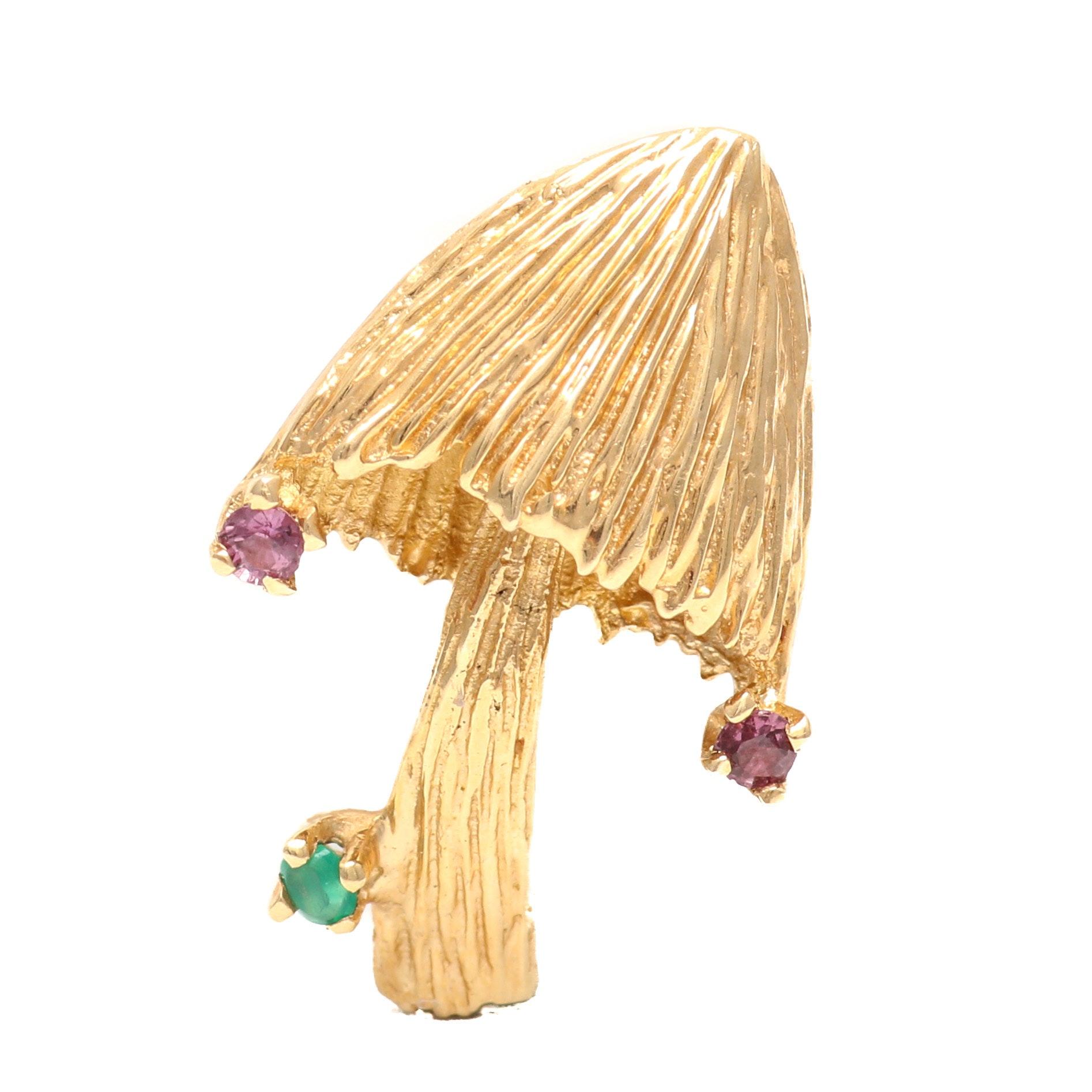 14K Yellow Gold Ruby and Emerald Mushroom Brooch
