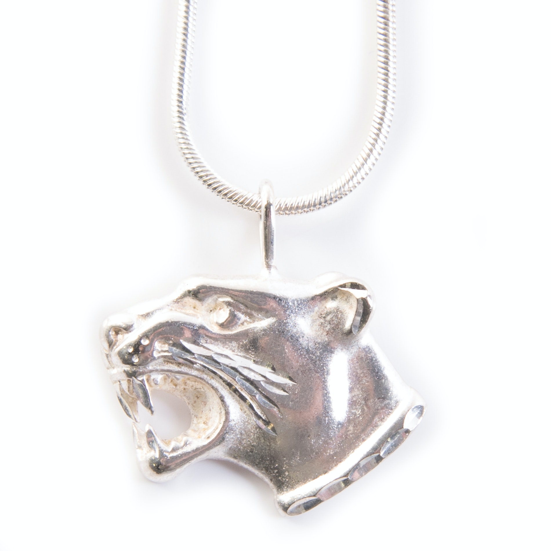 Sterling Silver Panther Head Pendant Necklace