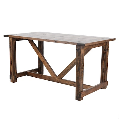 Counter Height Pine Table - Online Furniture Auctions Vintage Furniture Auction Antique