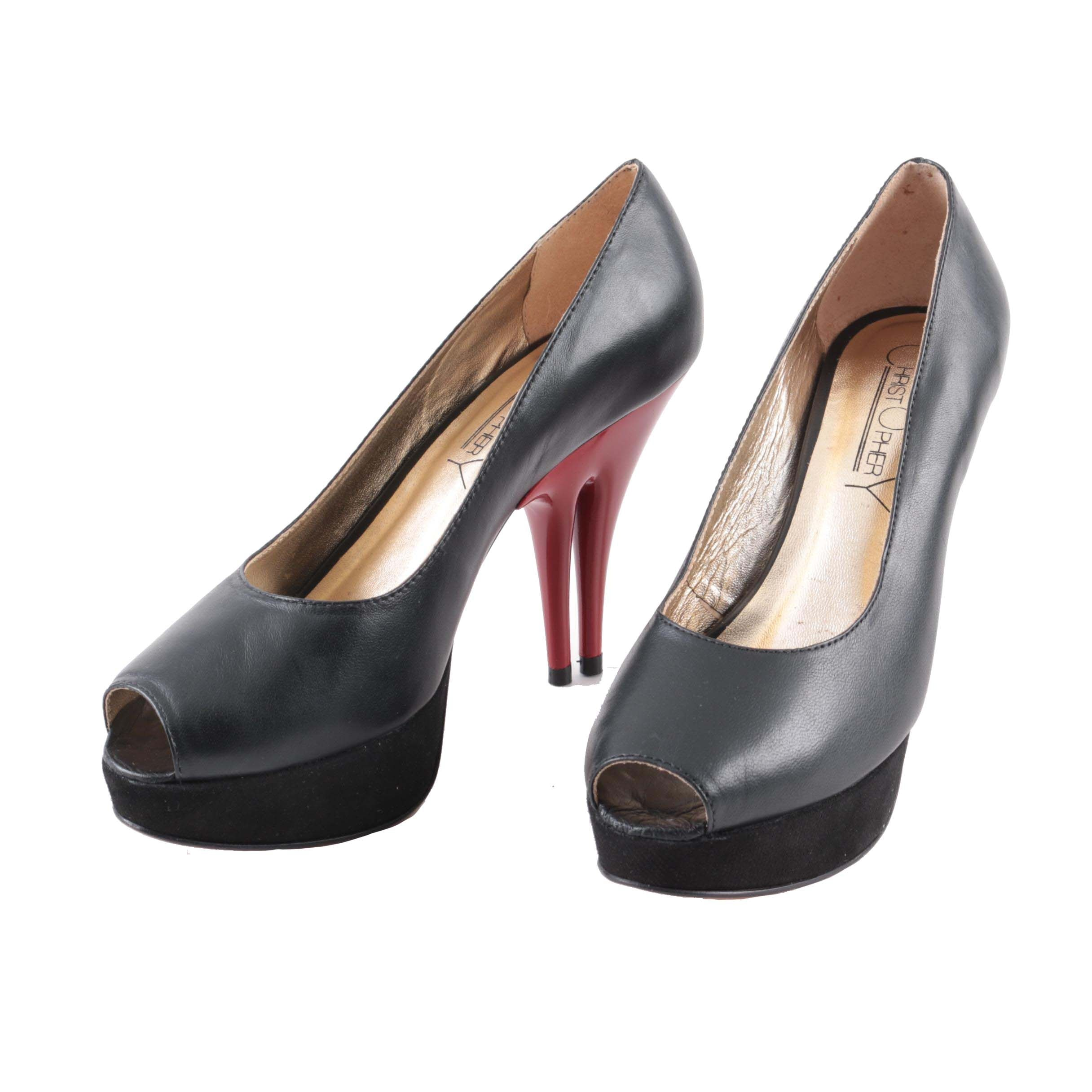 Christopher Coy Dual Heeled Stilettos in Black Leather