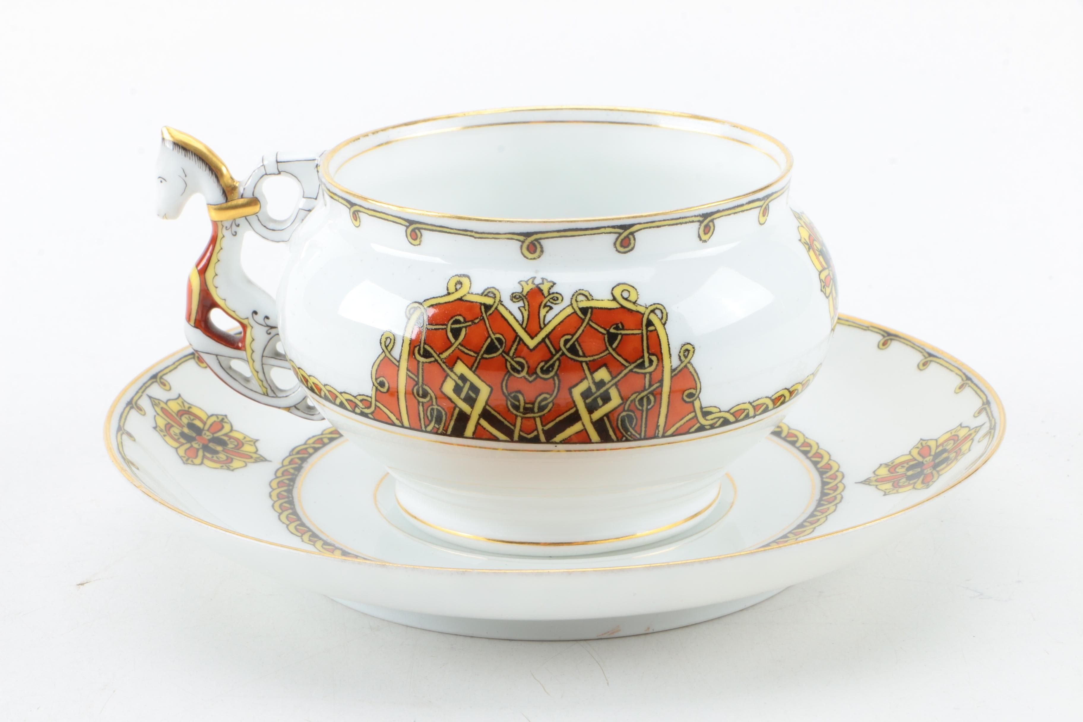 Pair of Antique German and Russian Porcelain Tea Cups