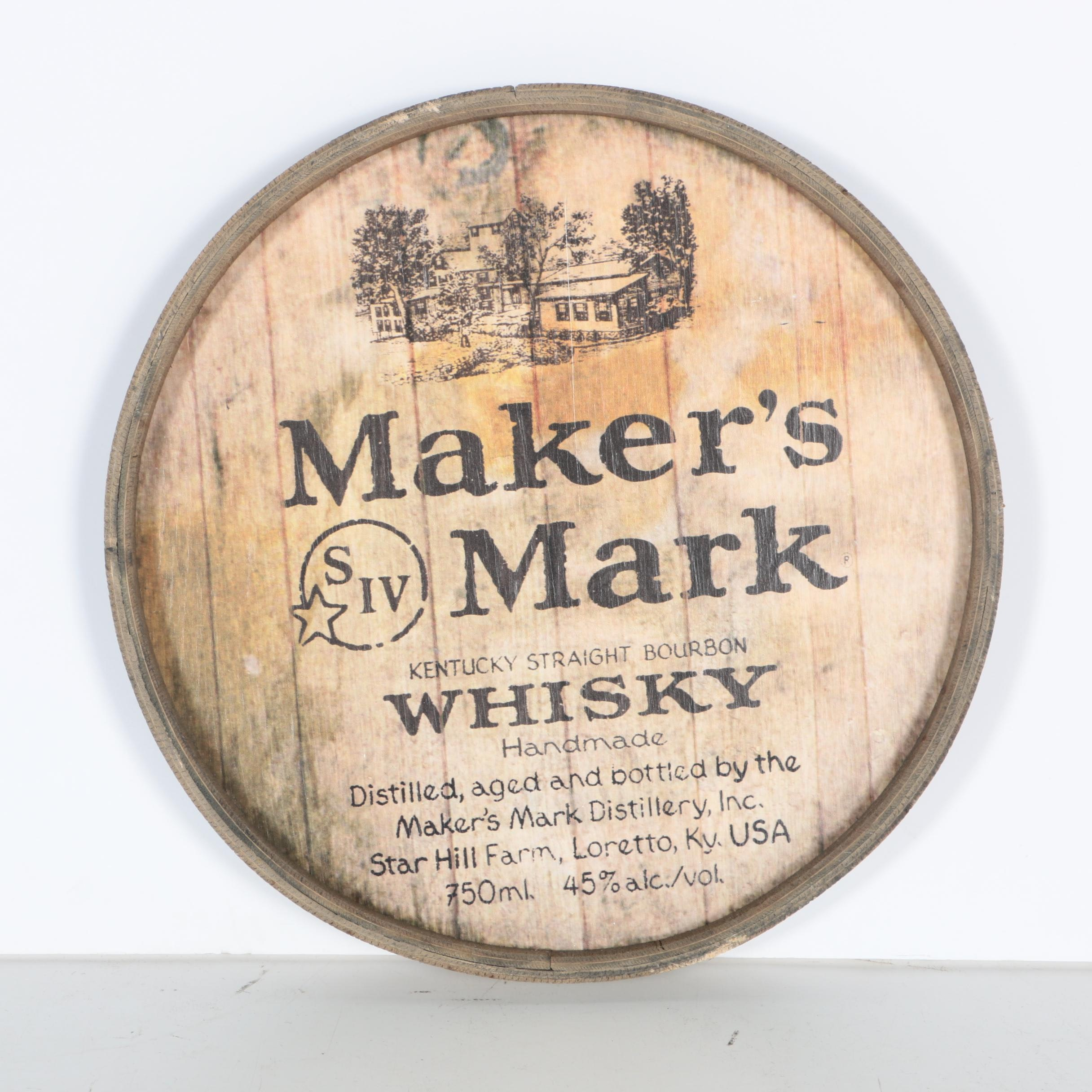 Wooden Maker's Mark Whisky Sign