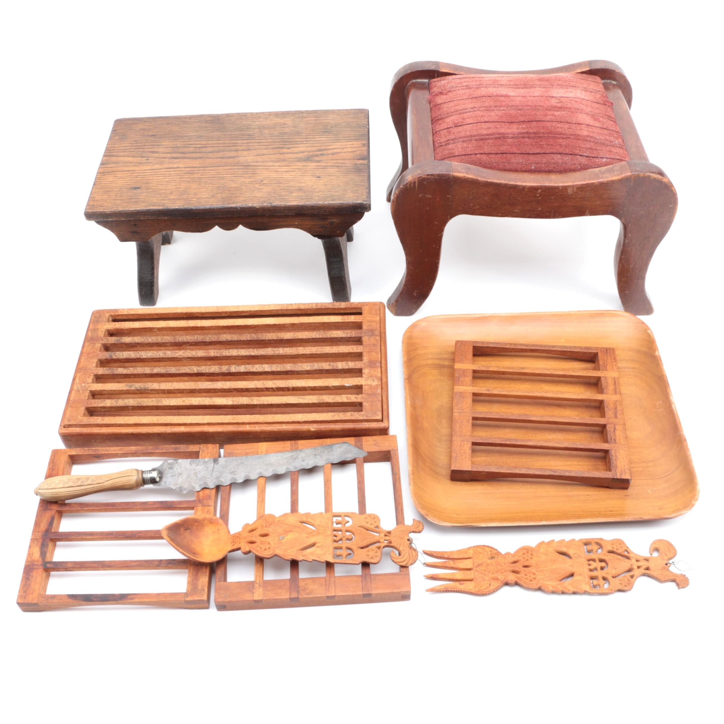 Wooden Stools Trivets and Tableware