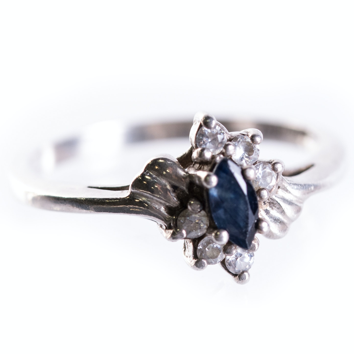Sterling Silver, Sapphire and Cubic Zirconia Ring