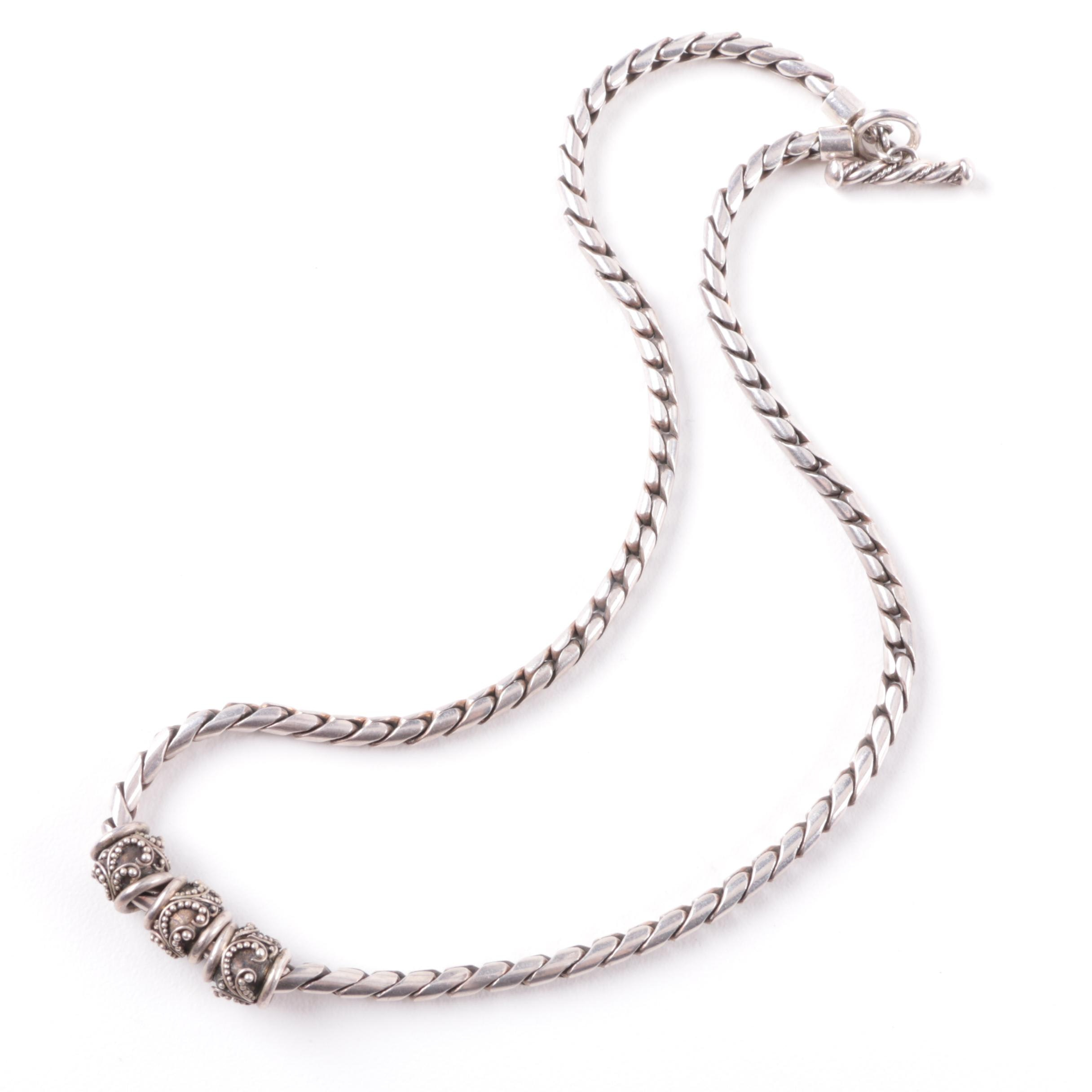 Sterling Silver Link Necklace with Sliding Granulated Pendants