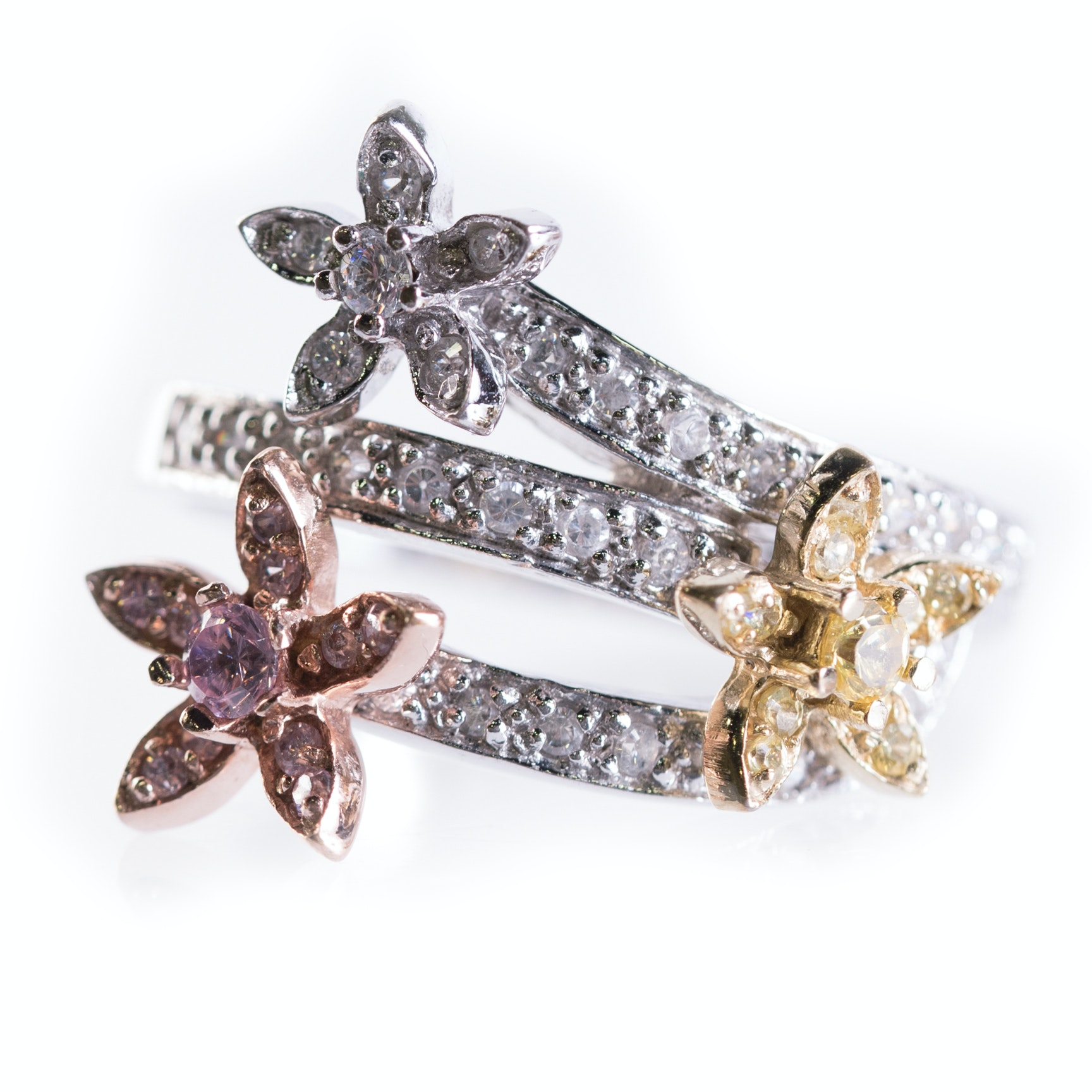 Sterling Silver Spinning Flower Ring