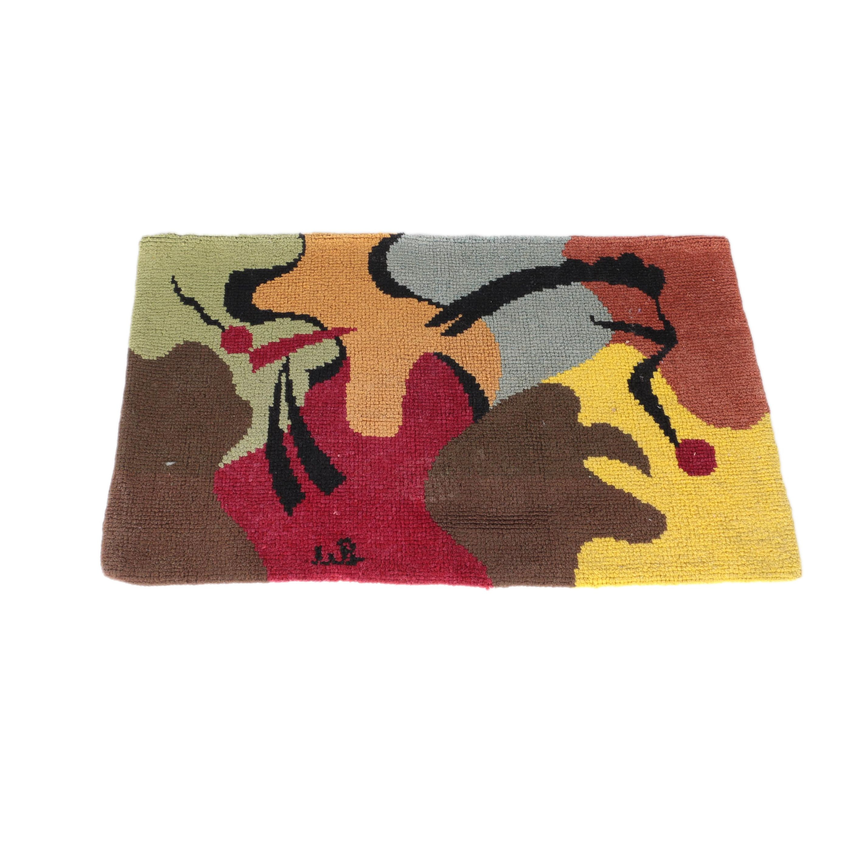 Signed Hand-Hooked Portuguese Wool Rug