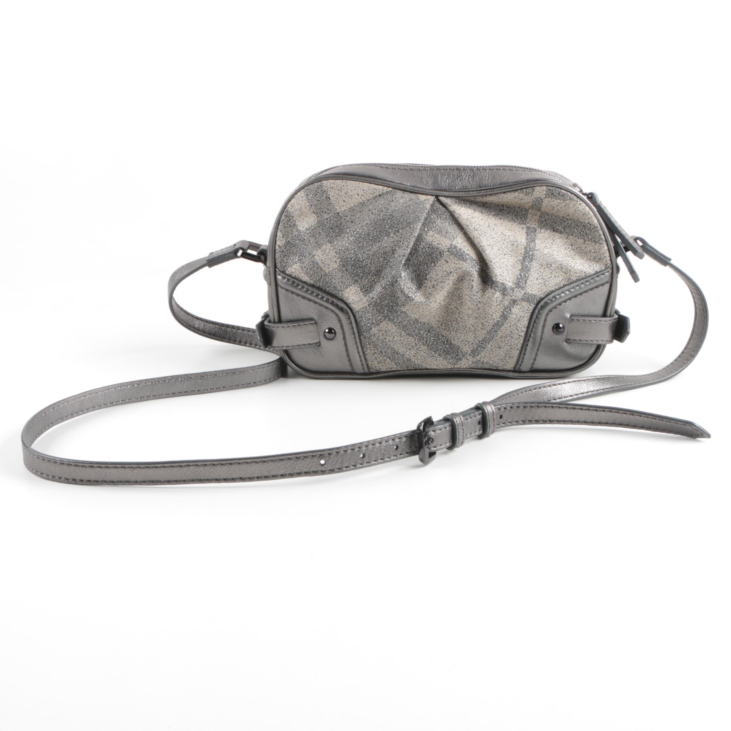Burberry Metallic Leather and Canvas Crossbody