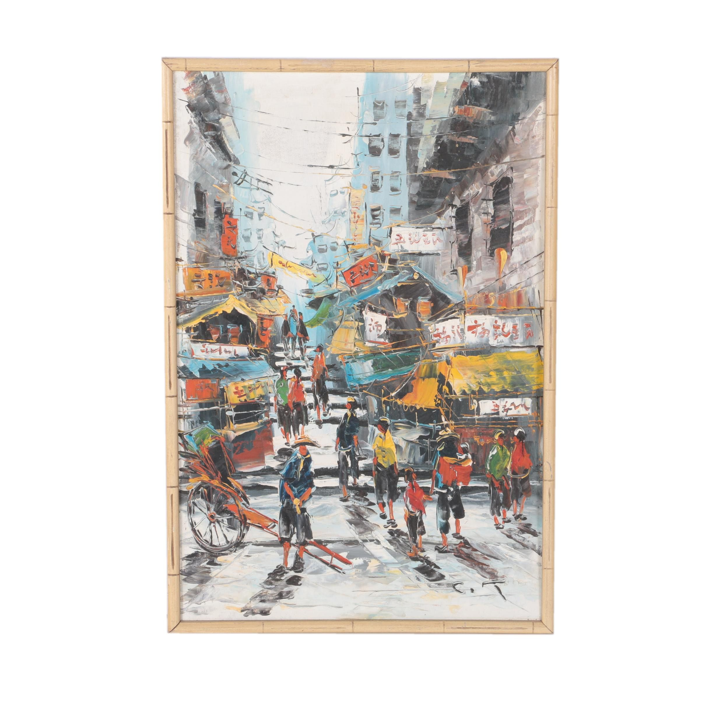 Oil Painting on Canvas of an East Asian Street Scene