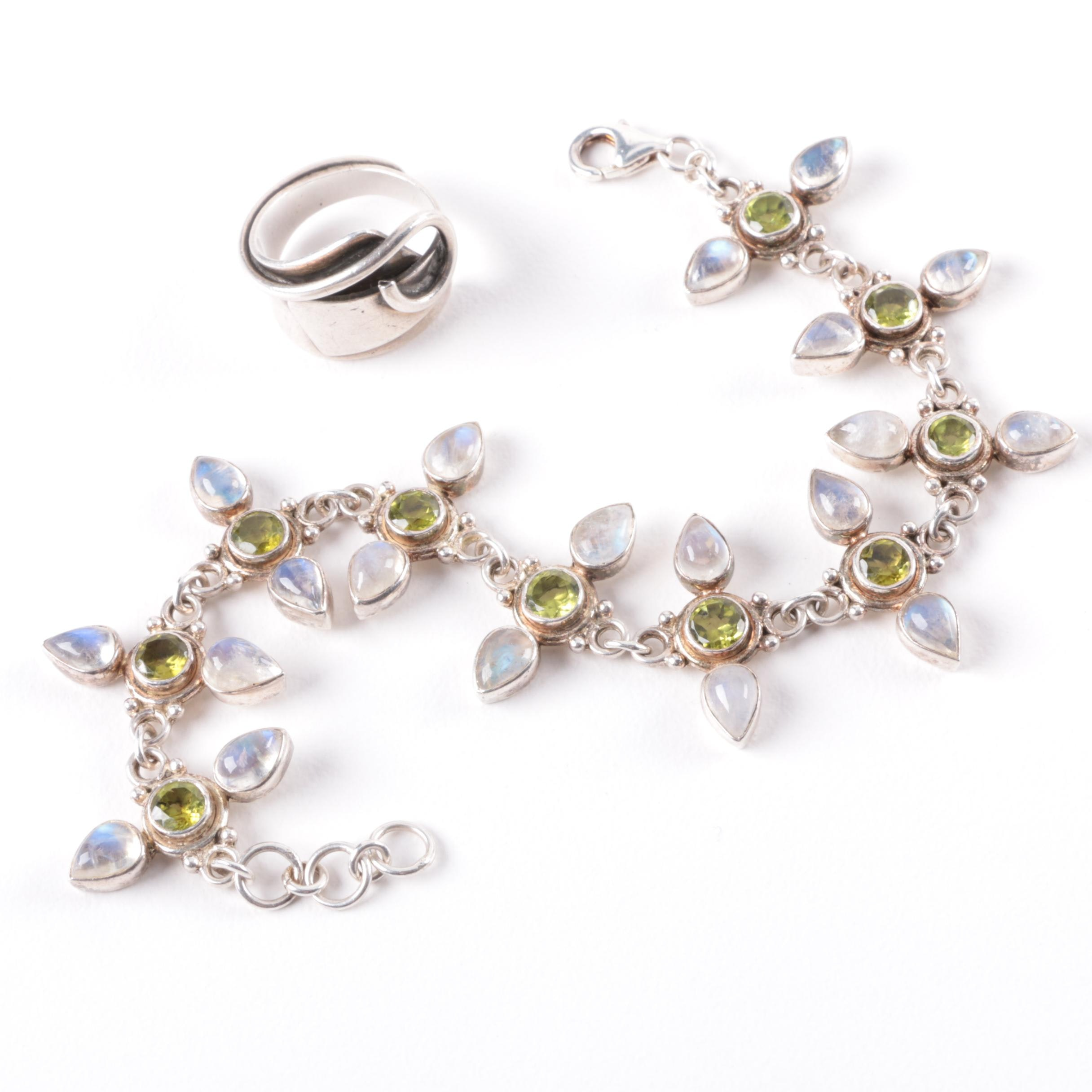 Sajen Sterling Silver, Moonstone and Peridot Bracelet with Bypass Ring