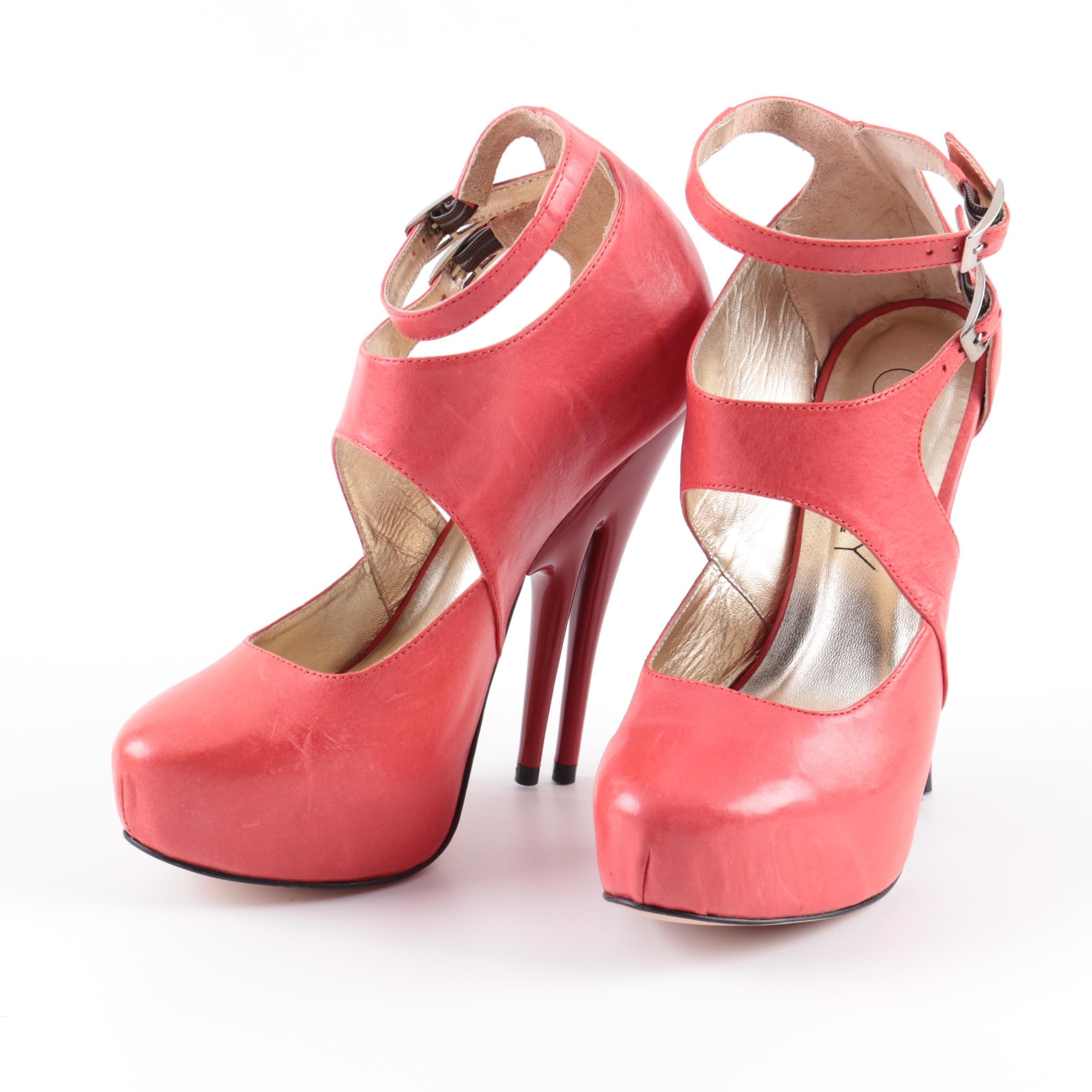 Christopher Coy Dual Heeled Stilettos in Red Leather