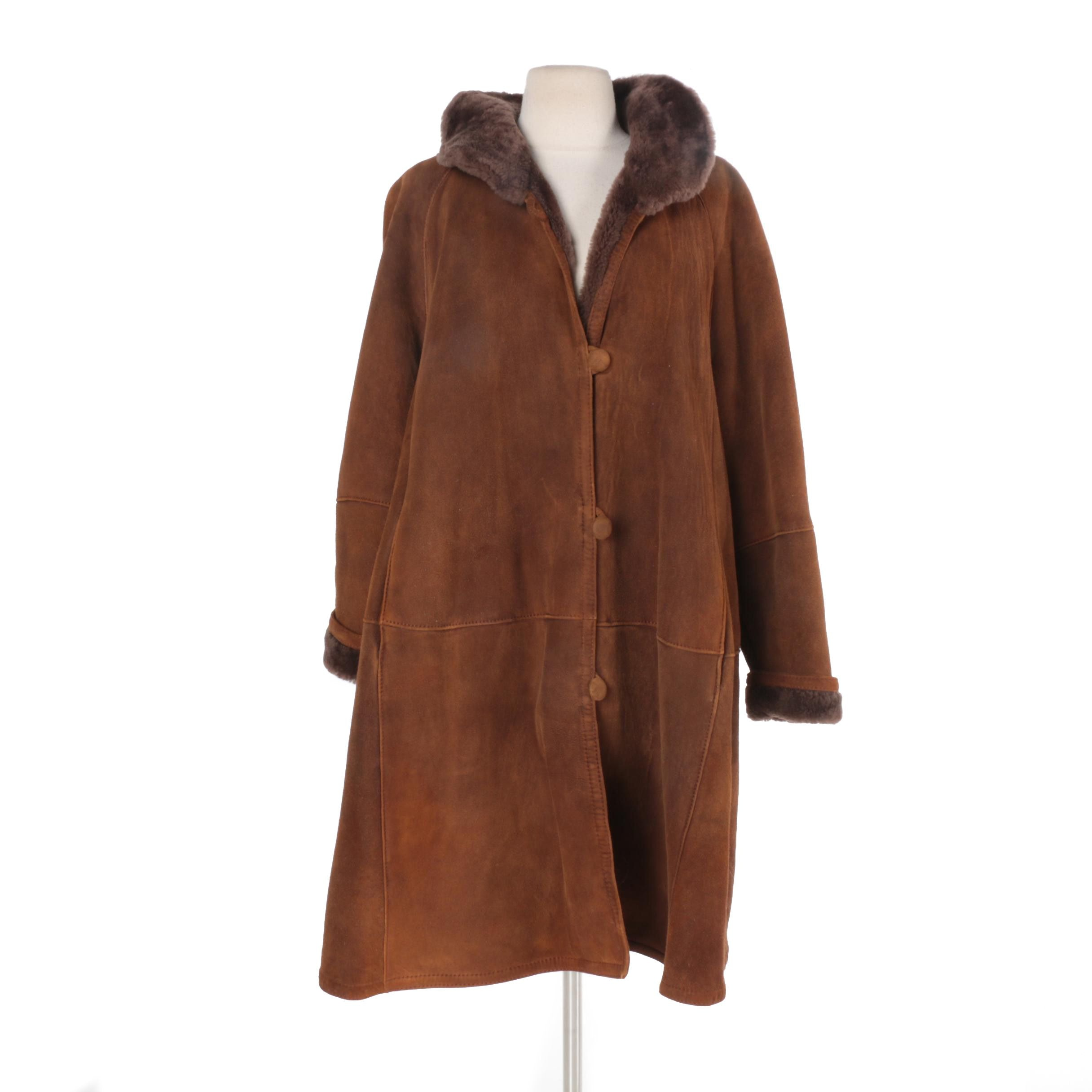 Women's Suede and Faux Shearling Coat