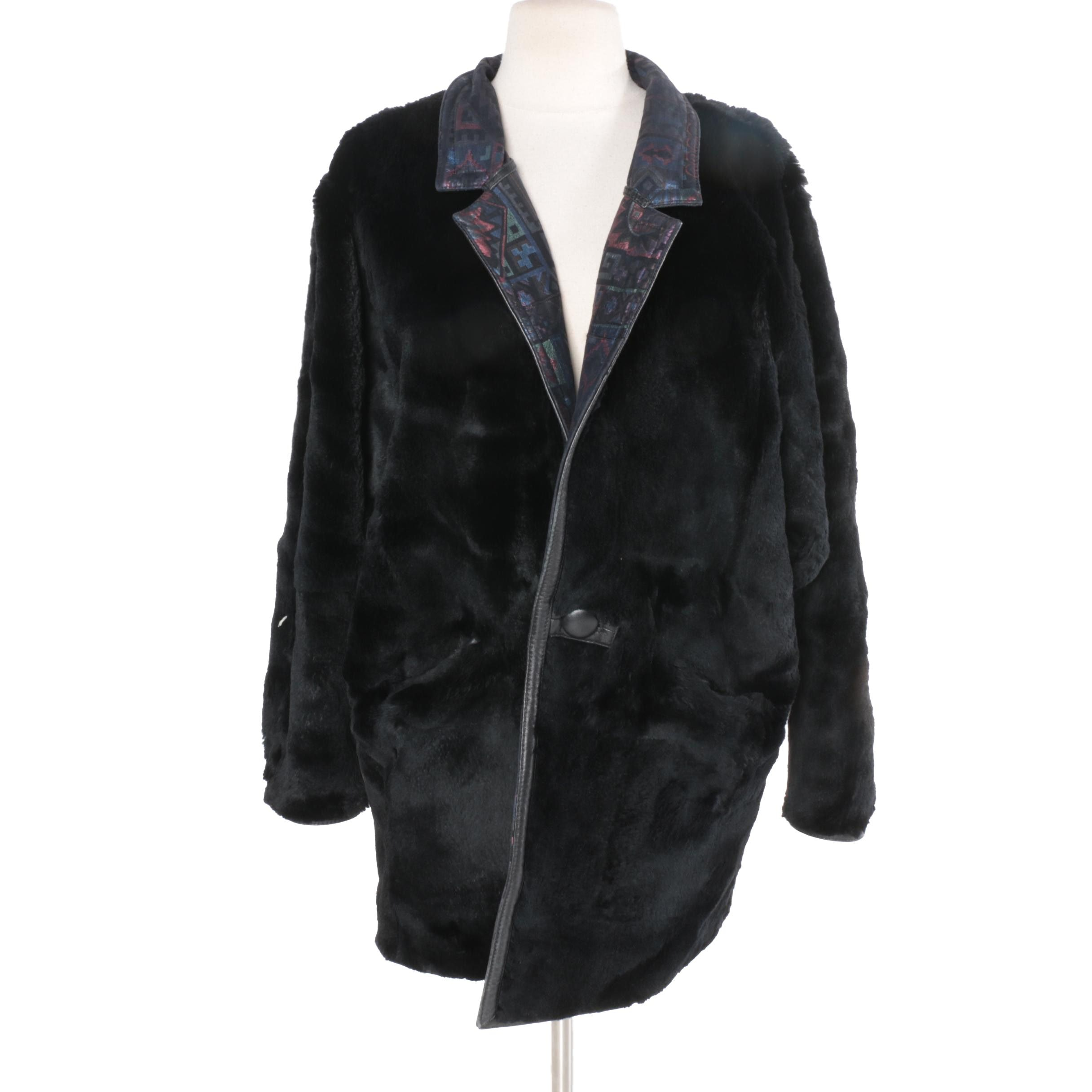 Dyed Black Reversible Leather Sheared Beaver Fur Coat