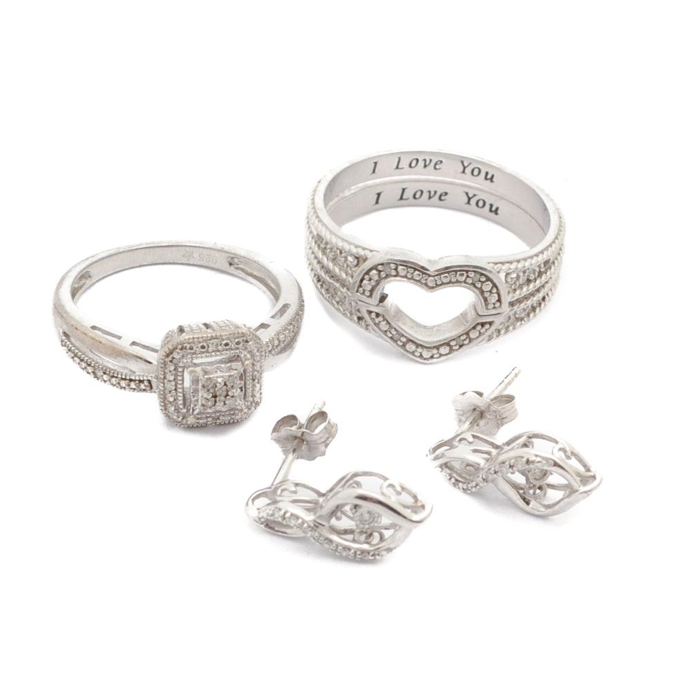 Sterling Silver Diamond Rings and Earrings