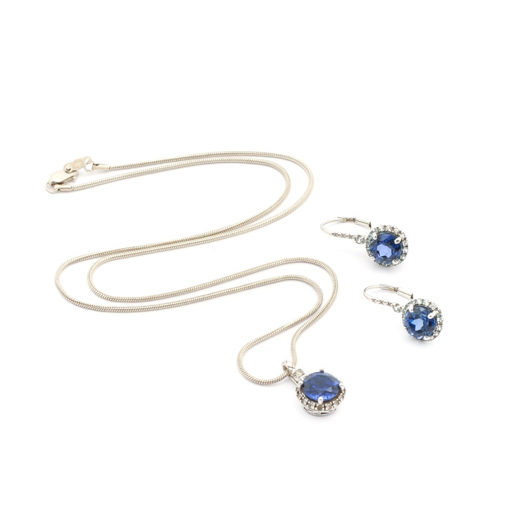 Sterling Silver Blue Sapphire Necklace and Earring Demi Parure