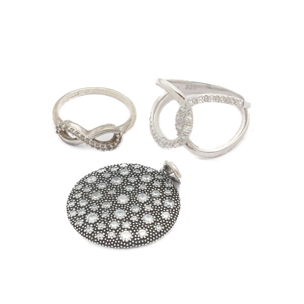 Sterling Silver Jewelry With Cubic Zirconia Accents