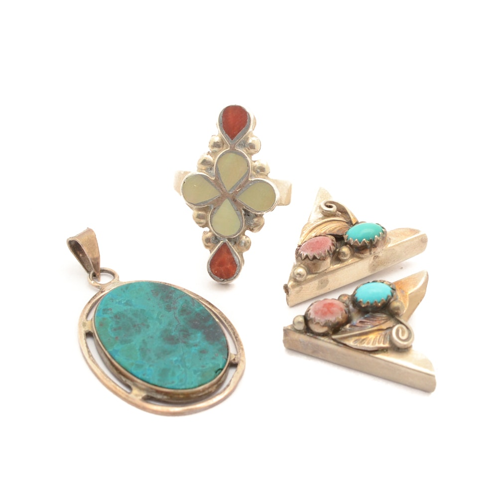 Sterling Silver Jewelry With Coral, Turquoise and Mother of Pearl