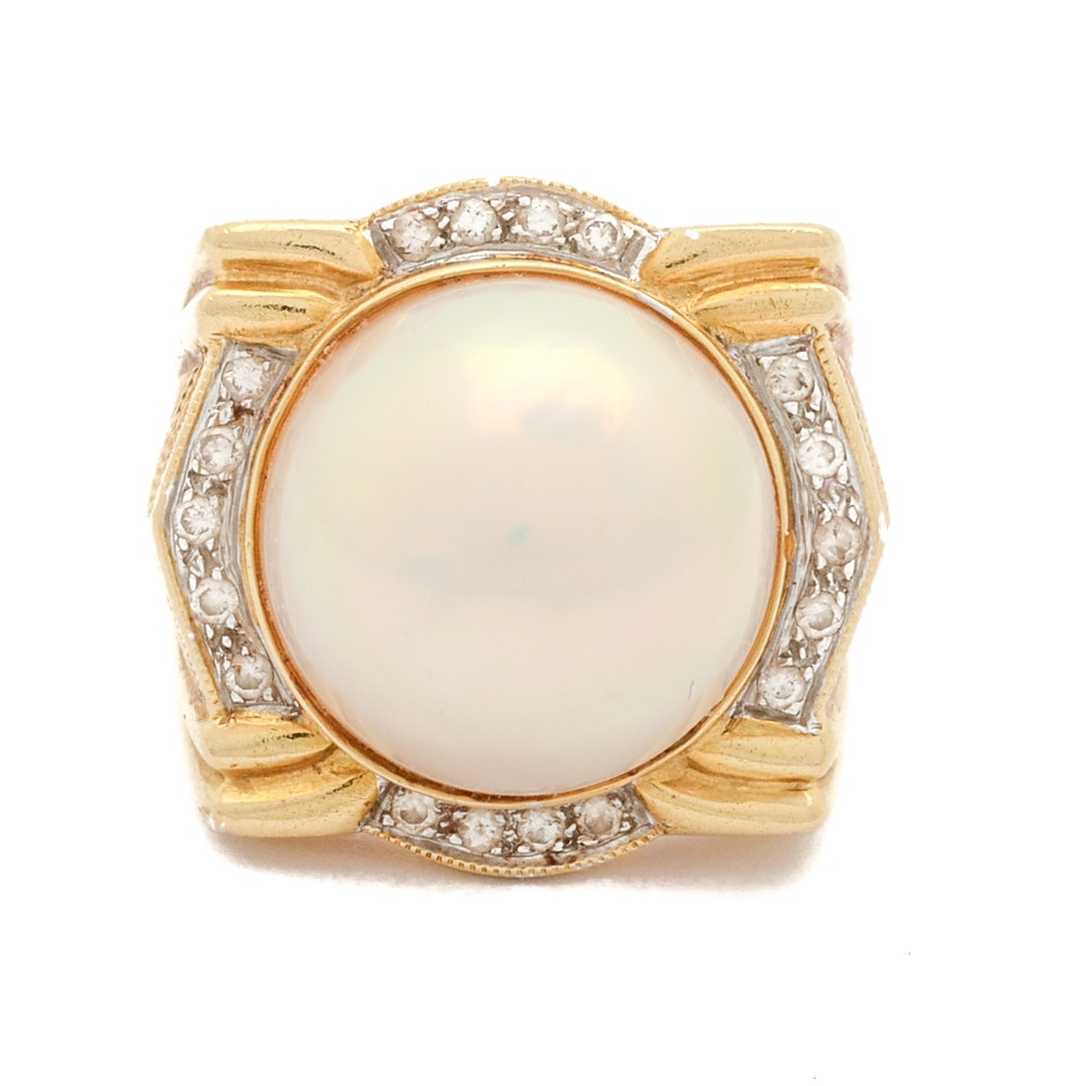 Le Vian 18K Yellow Gold Mabé Pearl and Diamond Ring
