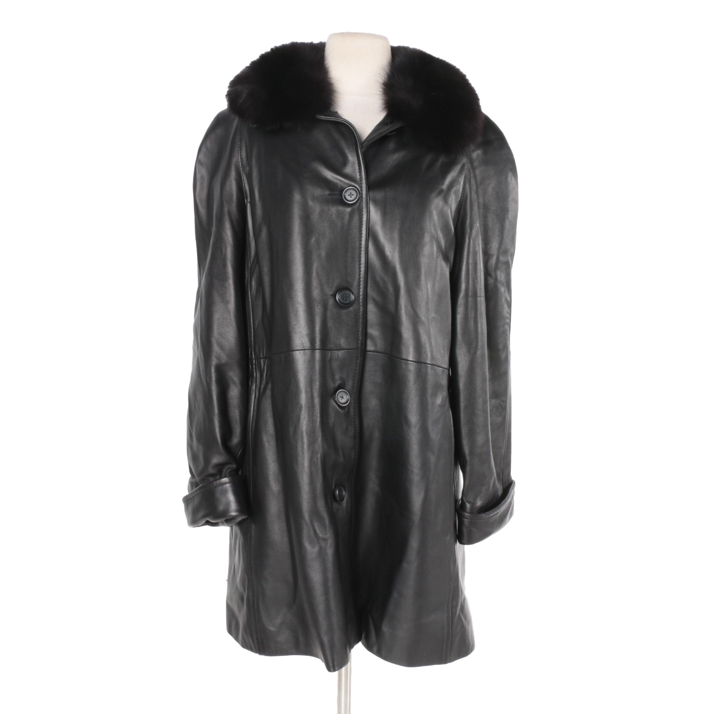 Marvin Richards Black Leather Coat with Fox Fur Collar