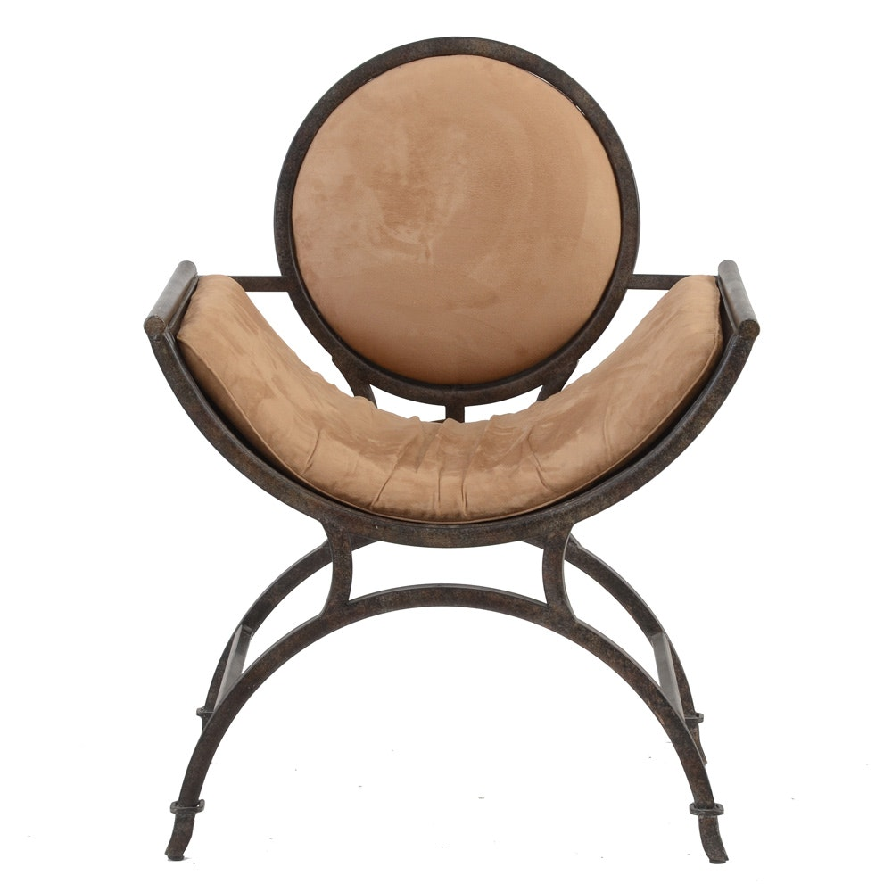 Contemporary Upholstered Metal Curule Chair