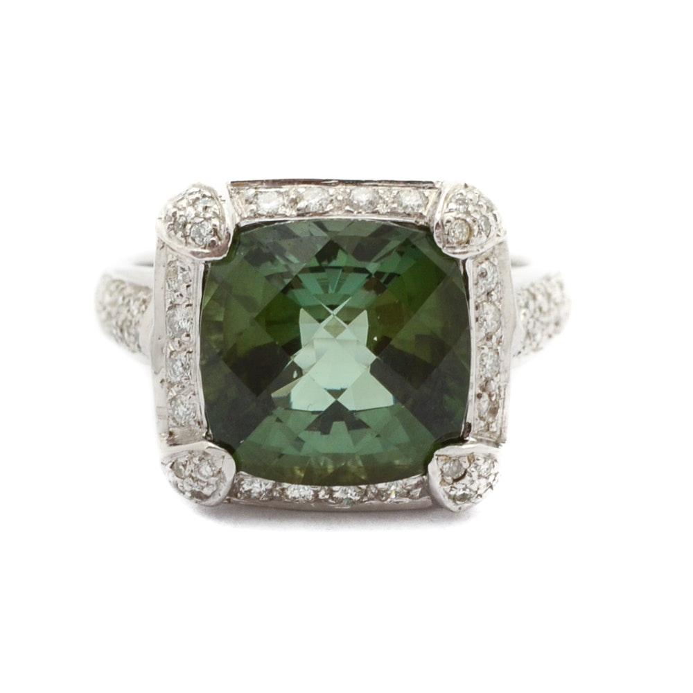 14K White Gold Tourmaline and Diamond Statement Ring