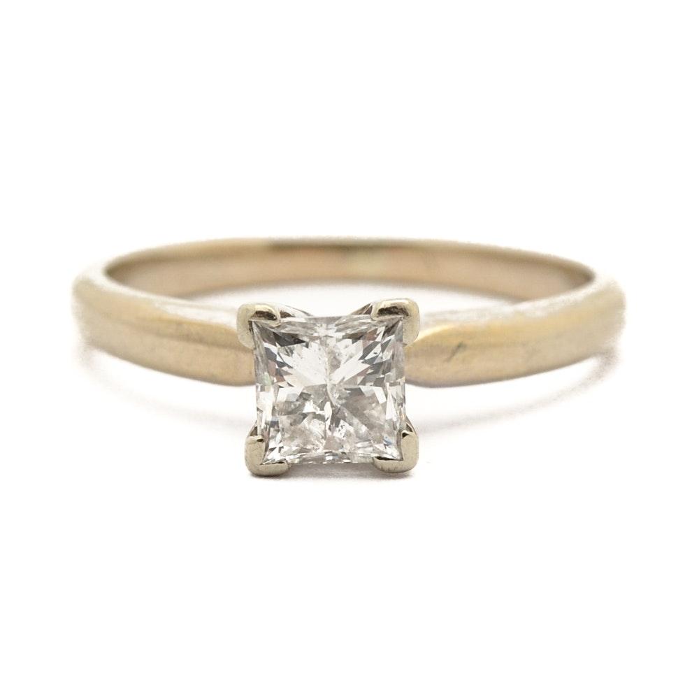 14K White Gold Princess Cut Diamond Ring